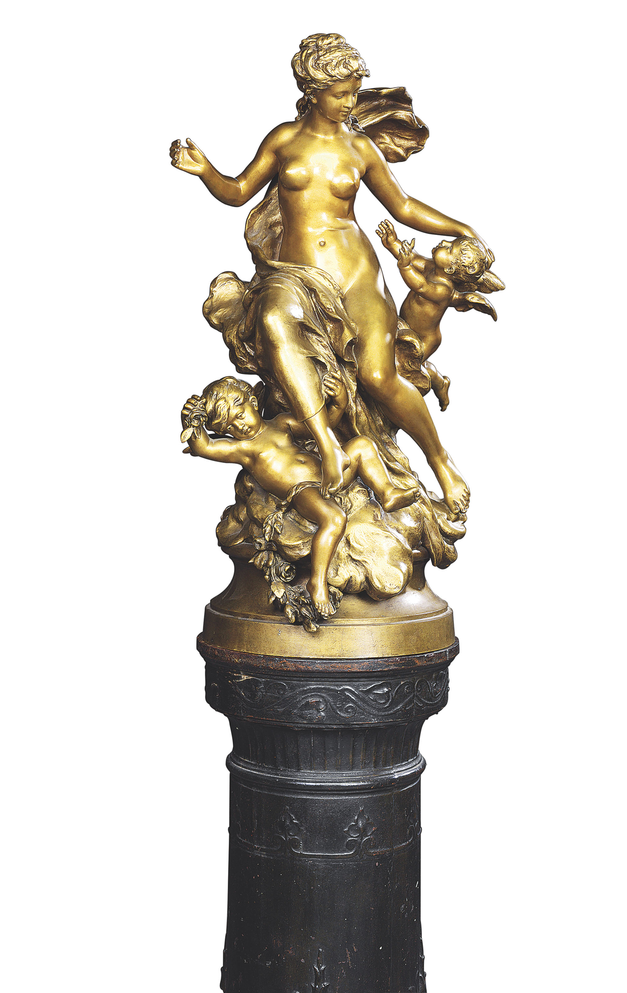 A FRENCH GILT-BRONZE GROUP OF VENUS AND PUTTI