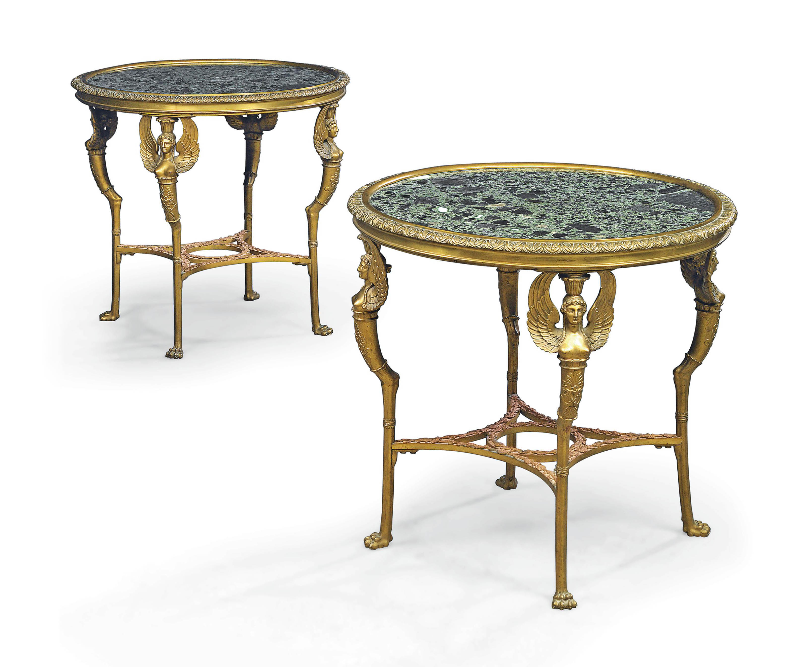 A PAIR OF FRENCH ORMOLU AND MARBLE LOW GUERIDONS