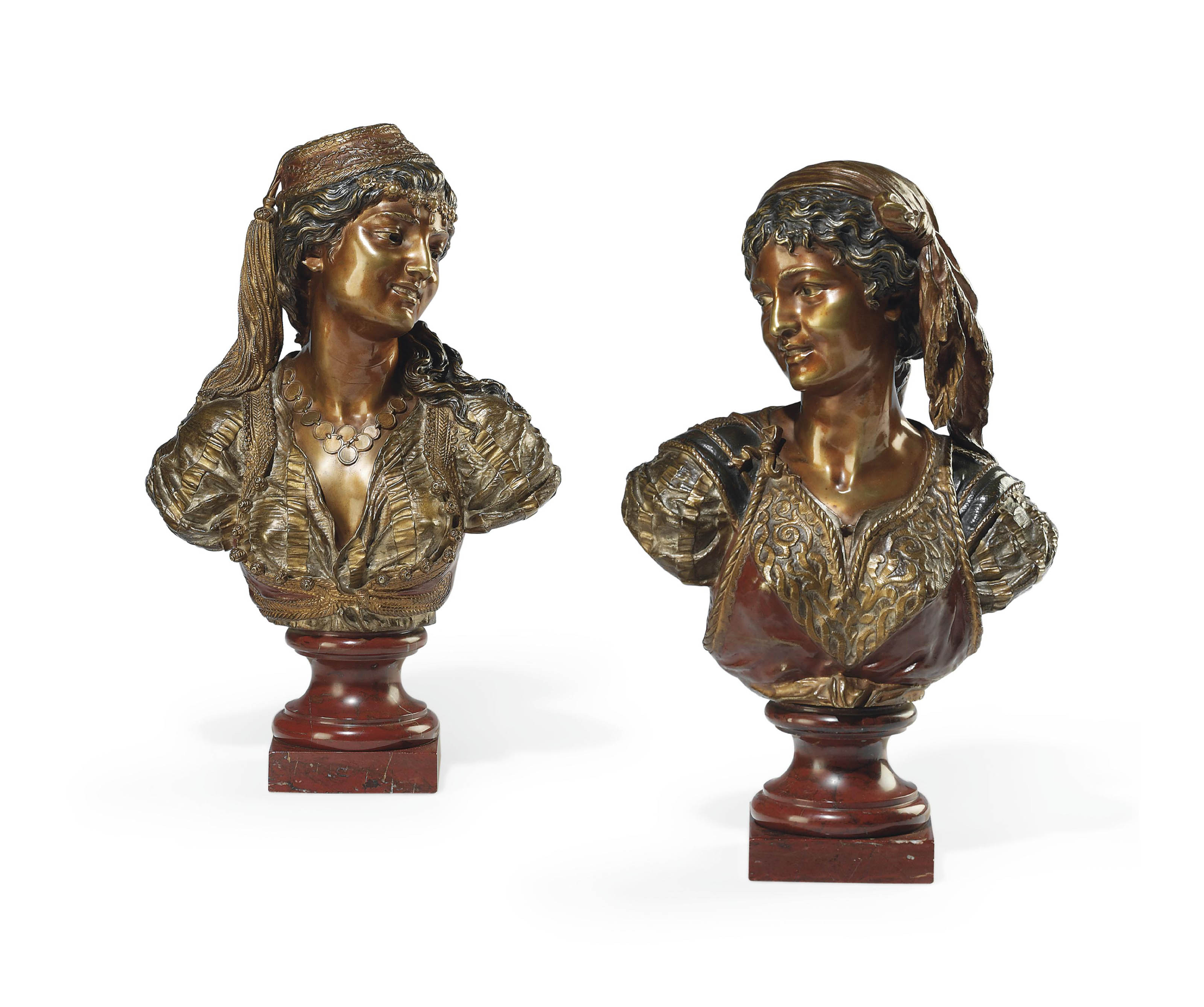 A PAIR OF FRENCH POLYCHROME PATINATED BRONZE BUSTS OF TURKISH WOMEN