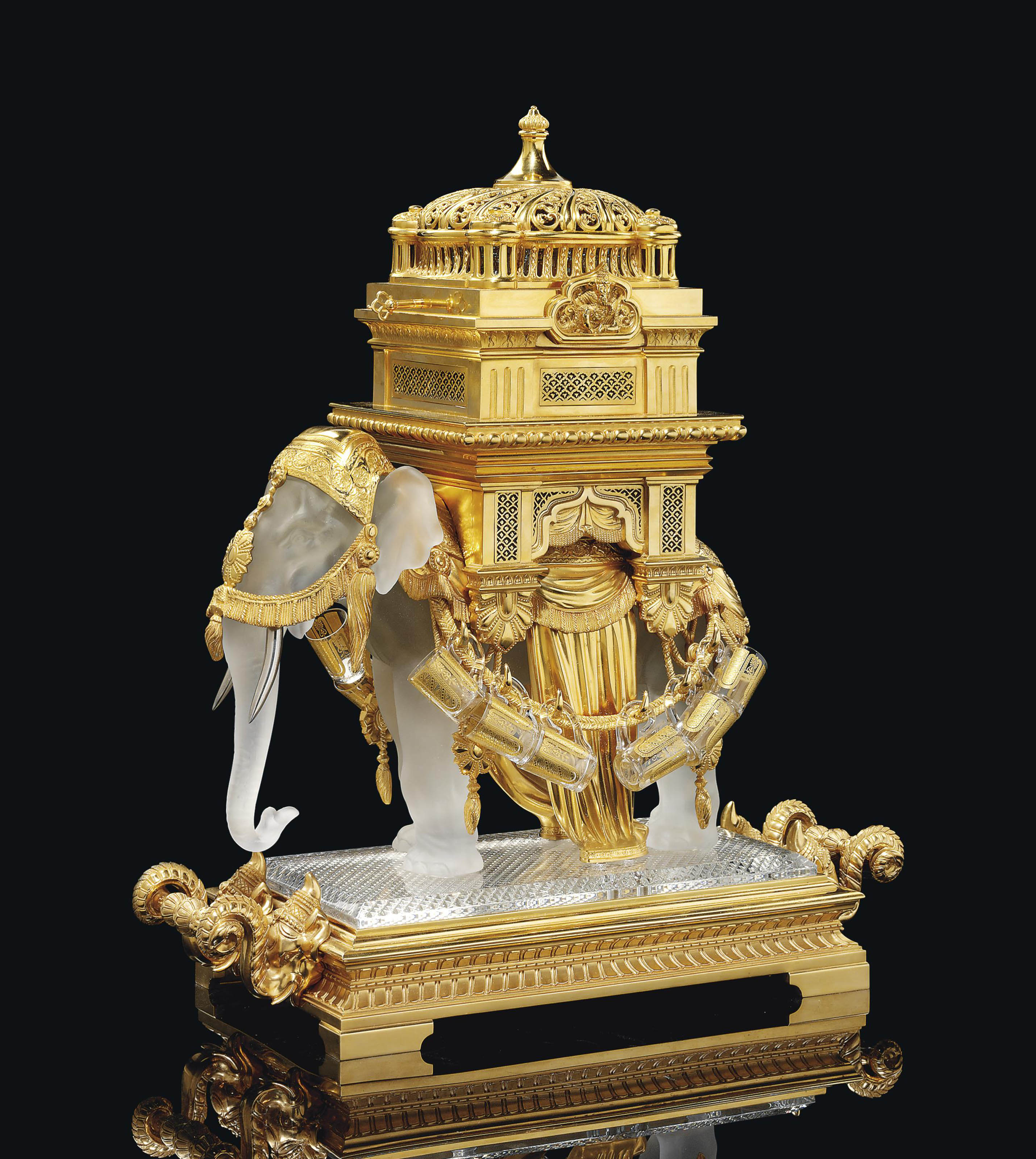 A FRENCH GILT-BRONZE, CRYSTAL AND CUT GLASS 'ELEPHANT' TANTALUS