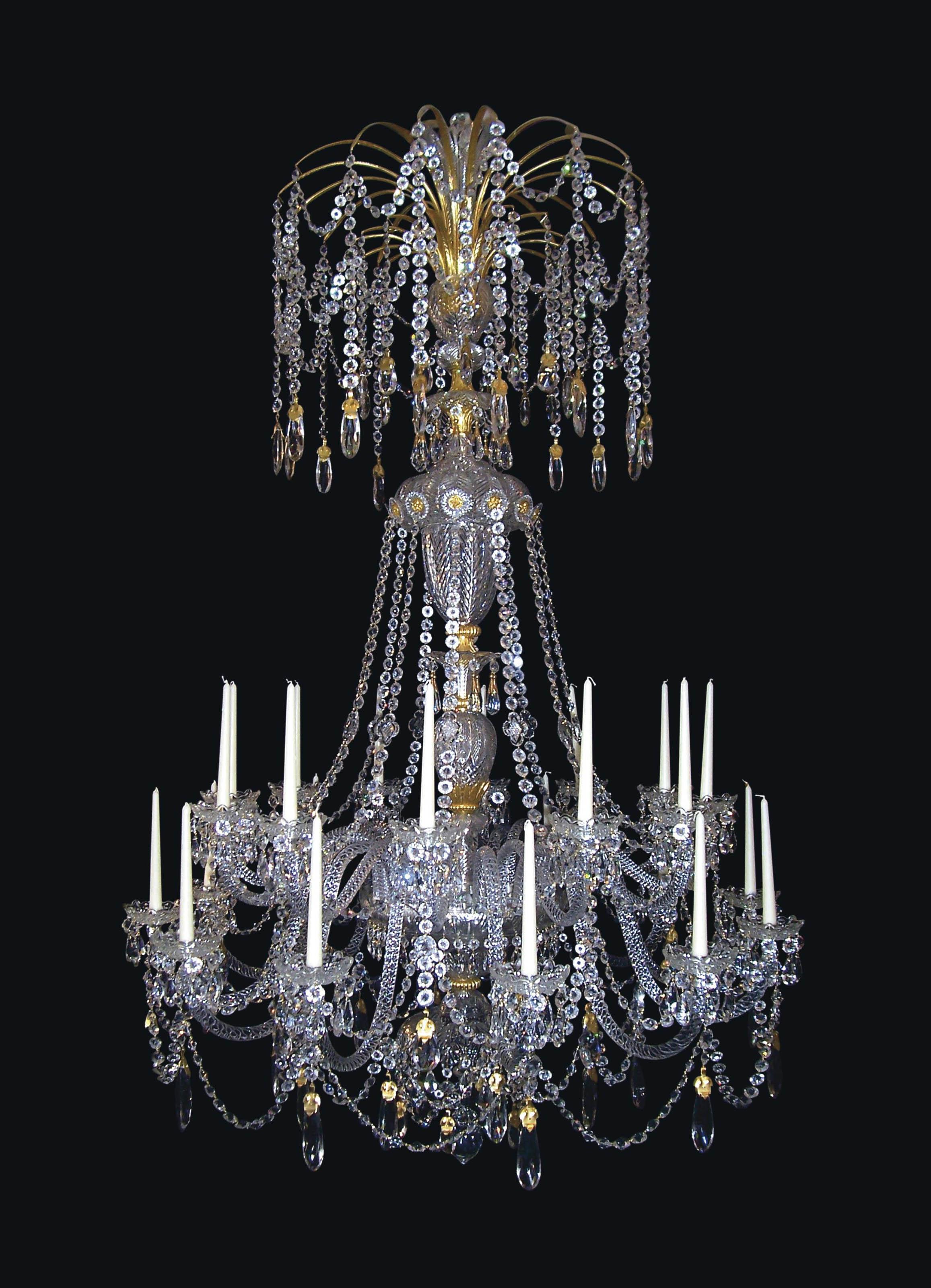 A VICTORIAN ORMOLU AND CUT GLASS TWENTY-FOUR-LIGHT CHANDELIER