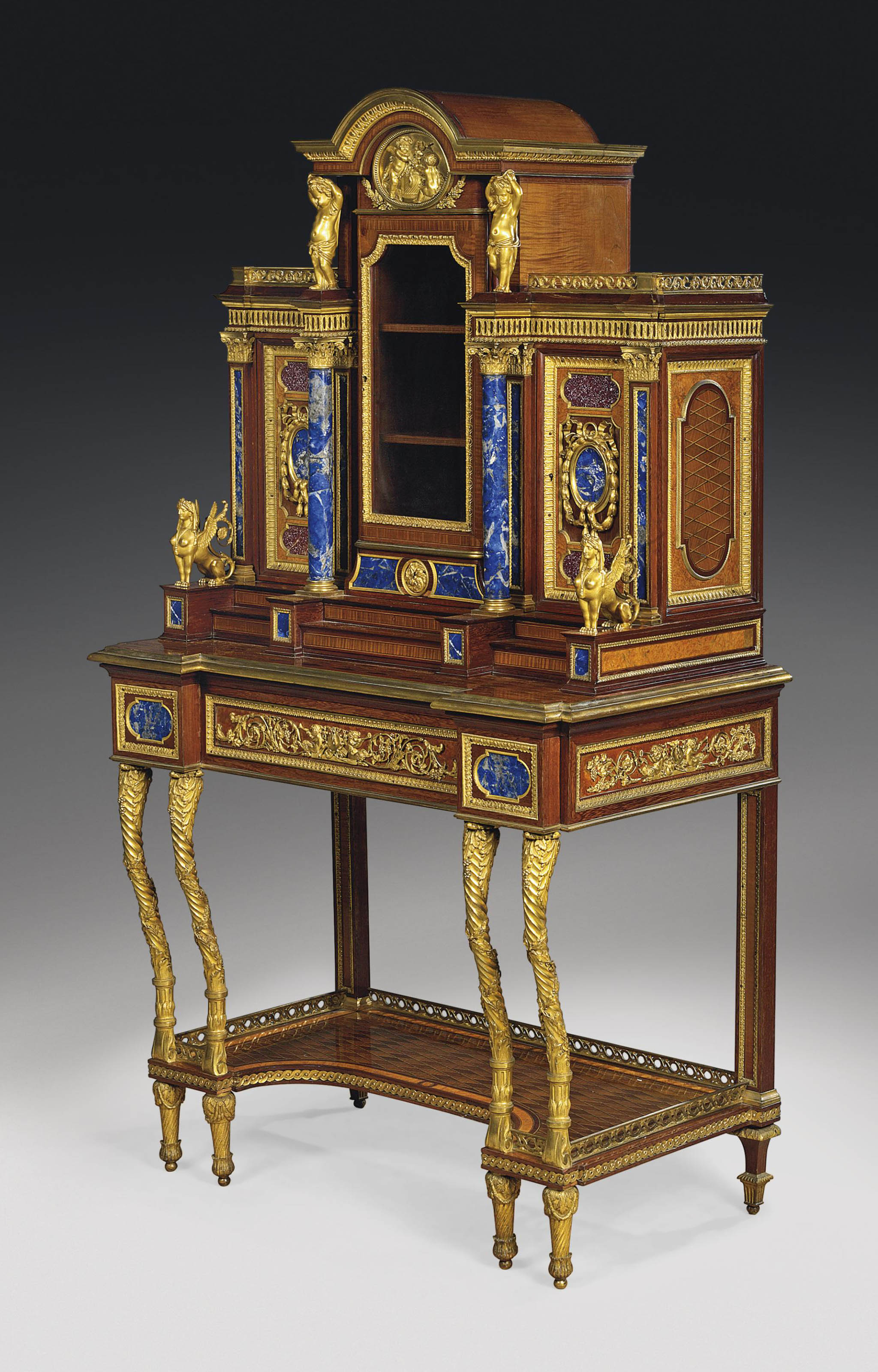 A FINE FRENCH ORMOLU, PORPHYRY AND LAPIS LAZULI-MOUNTED SATINWOOD, BURR-MAPLE AND MAHOGANY PARQUETRY VITRINE-CABINET-ON-STAND