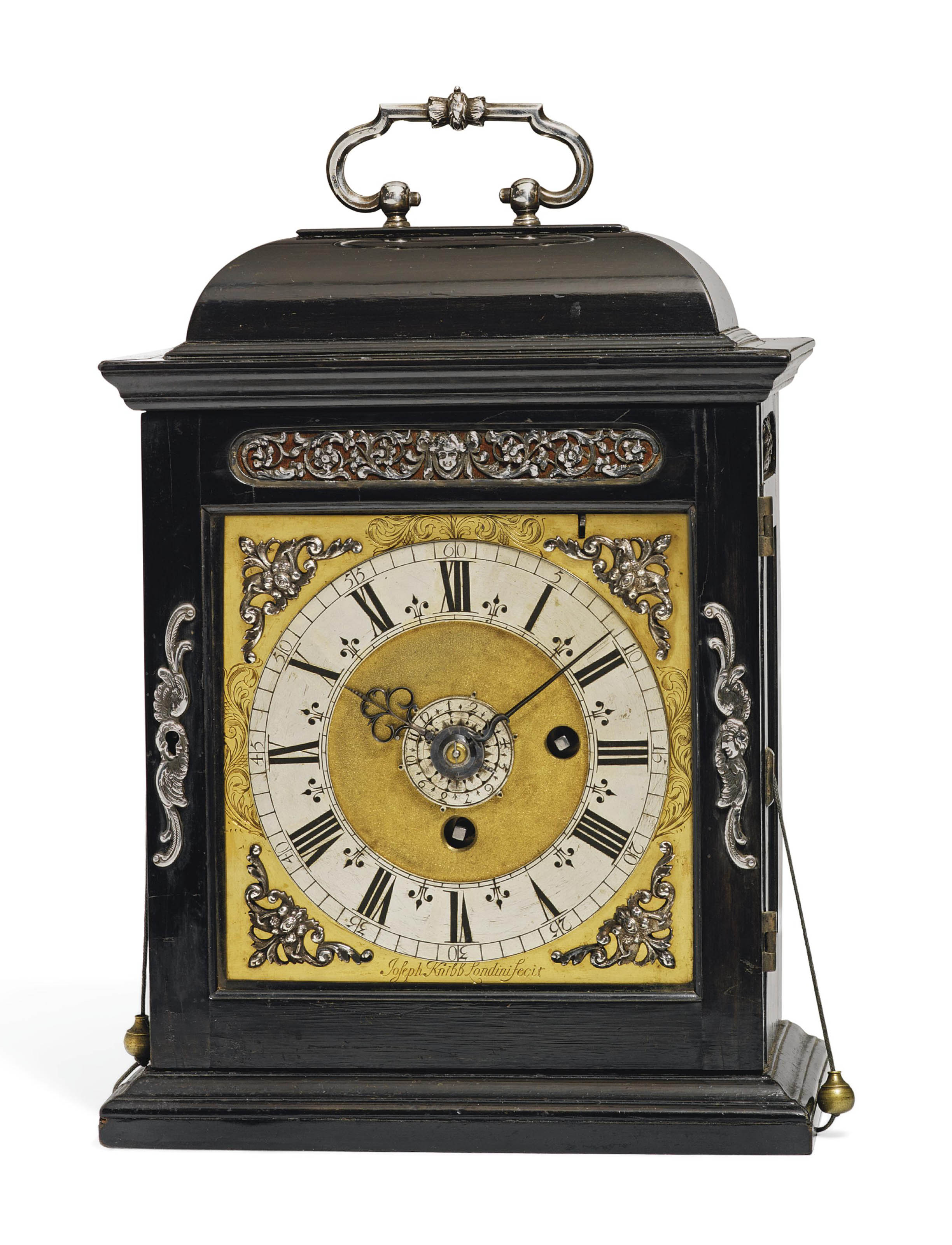 A CHARLES II SILVER-MOUNTED EBONY-VENEERED EIGHT-DAY TIMEPIECE TABLE CLOCK WITH PULL QUARTER REPEAT AND ALARM