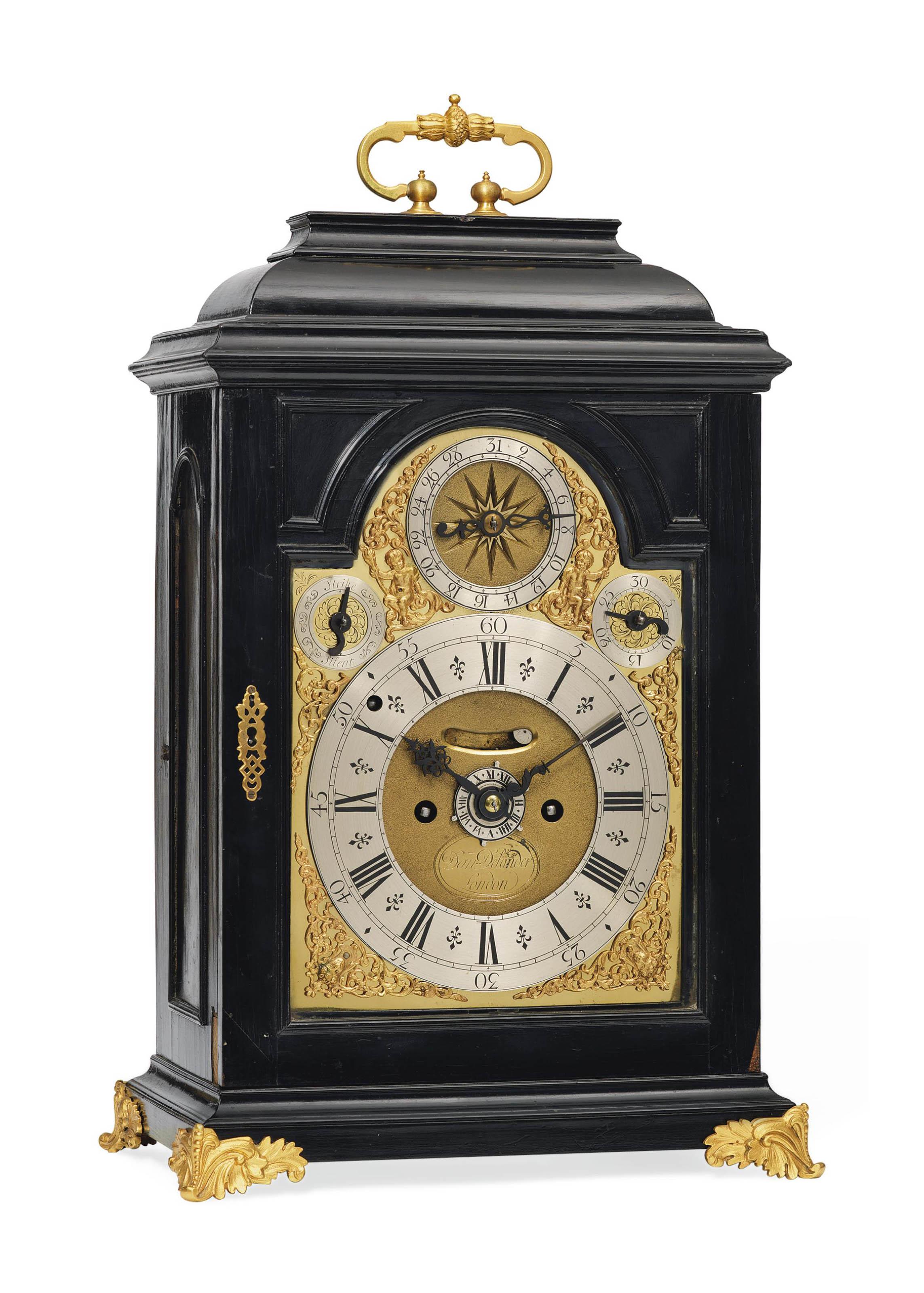 A GEORGE I EBONY-VENEERED STRIKING EIGHT-DAY TABLE CLOCK