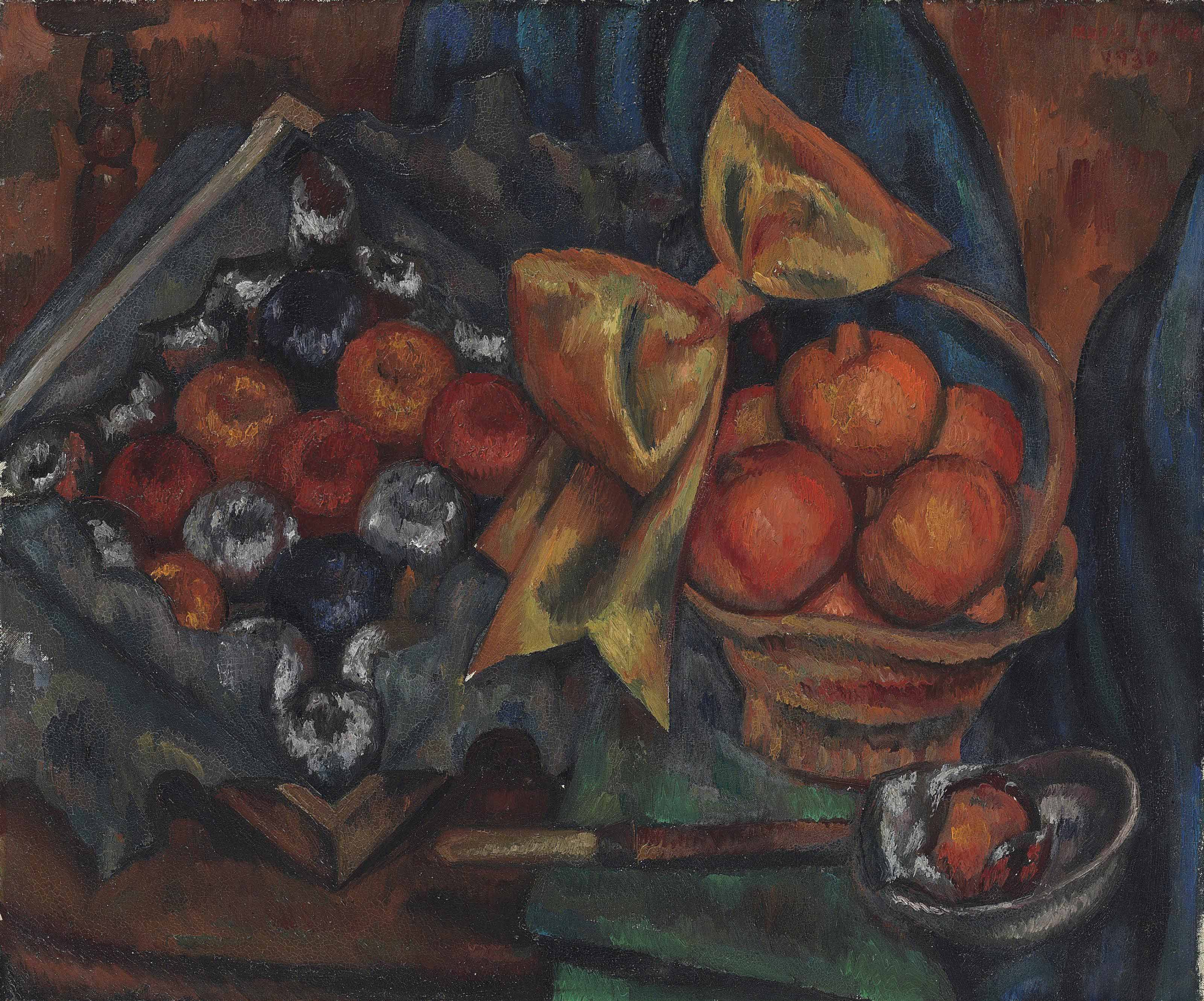 Still life with pomegranates and fruit