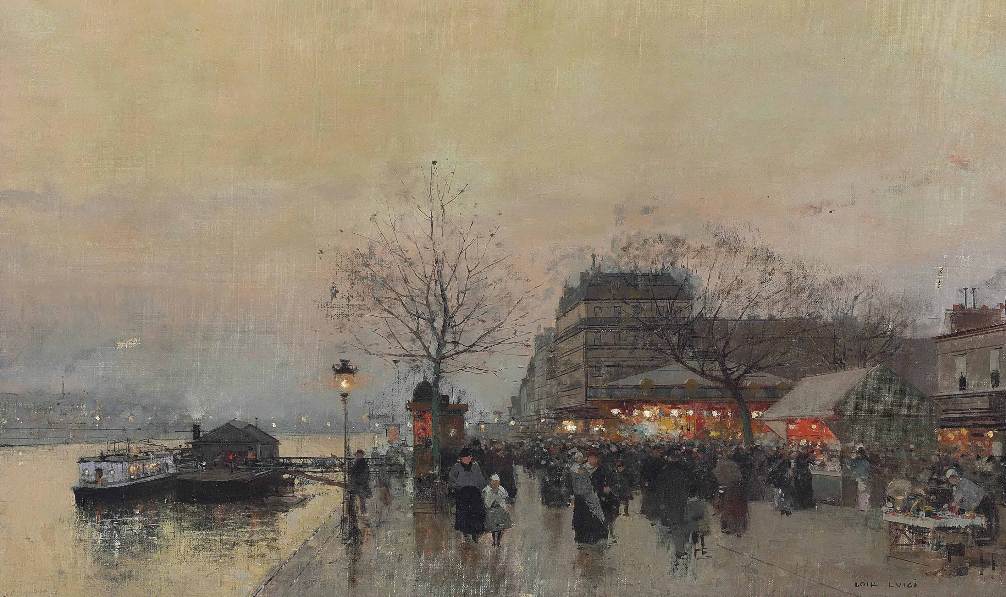 A street fair on the banks of the Seine