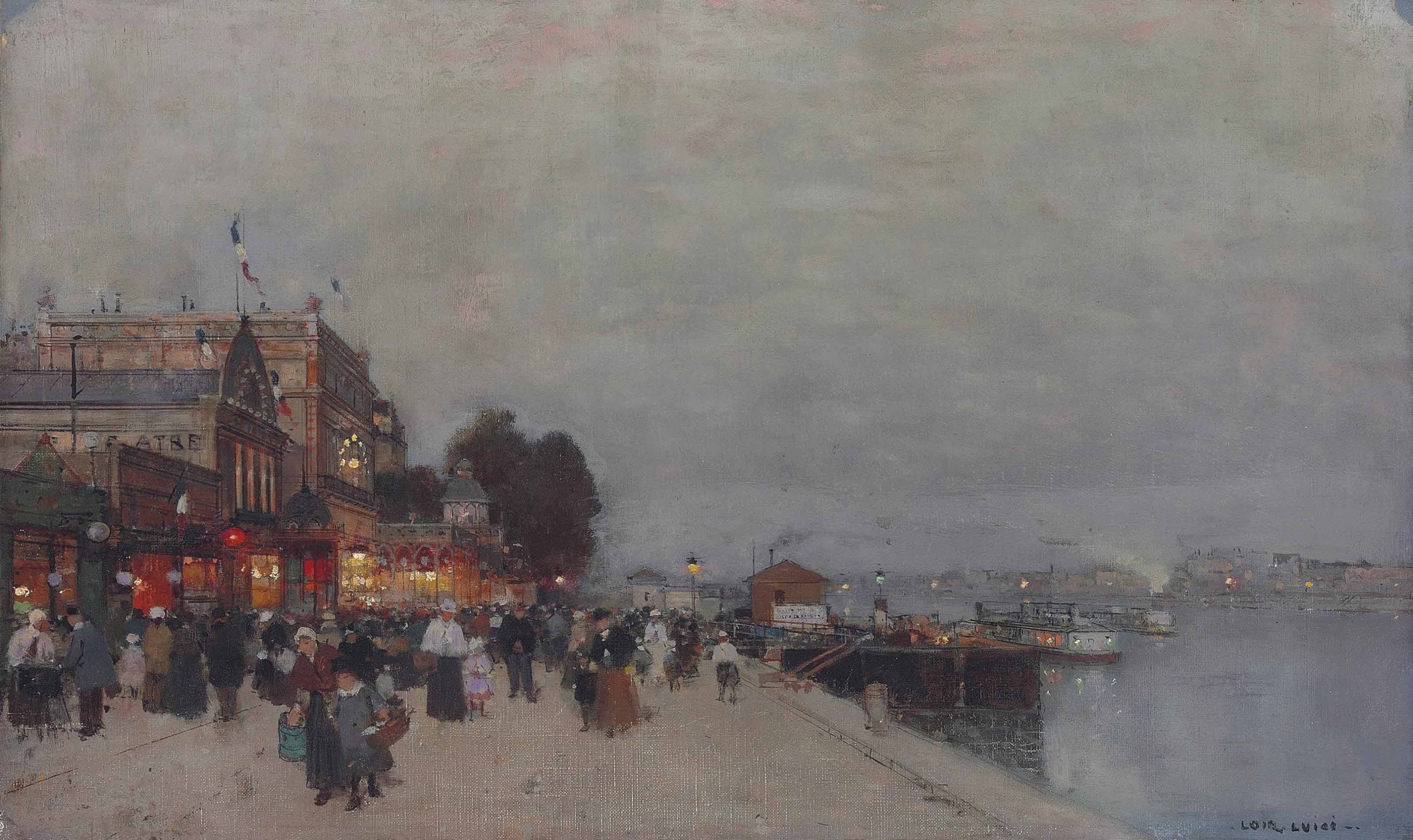 A crowd in front of a theatre on the bank of the Seine