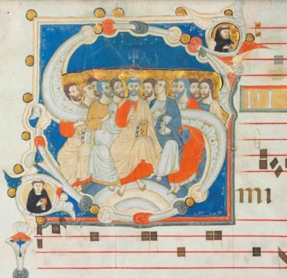 PENTECOST, historiated initial