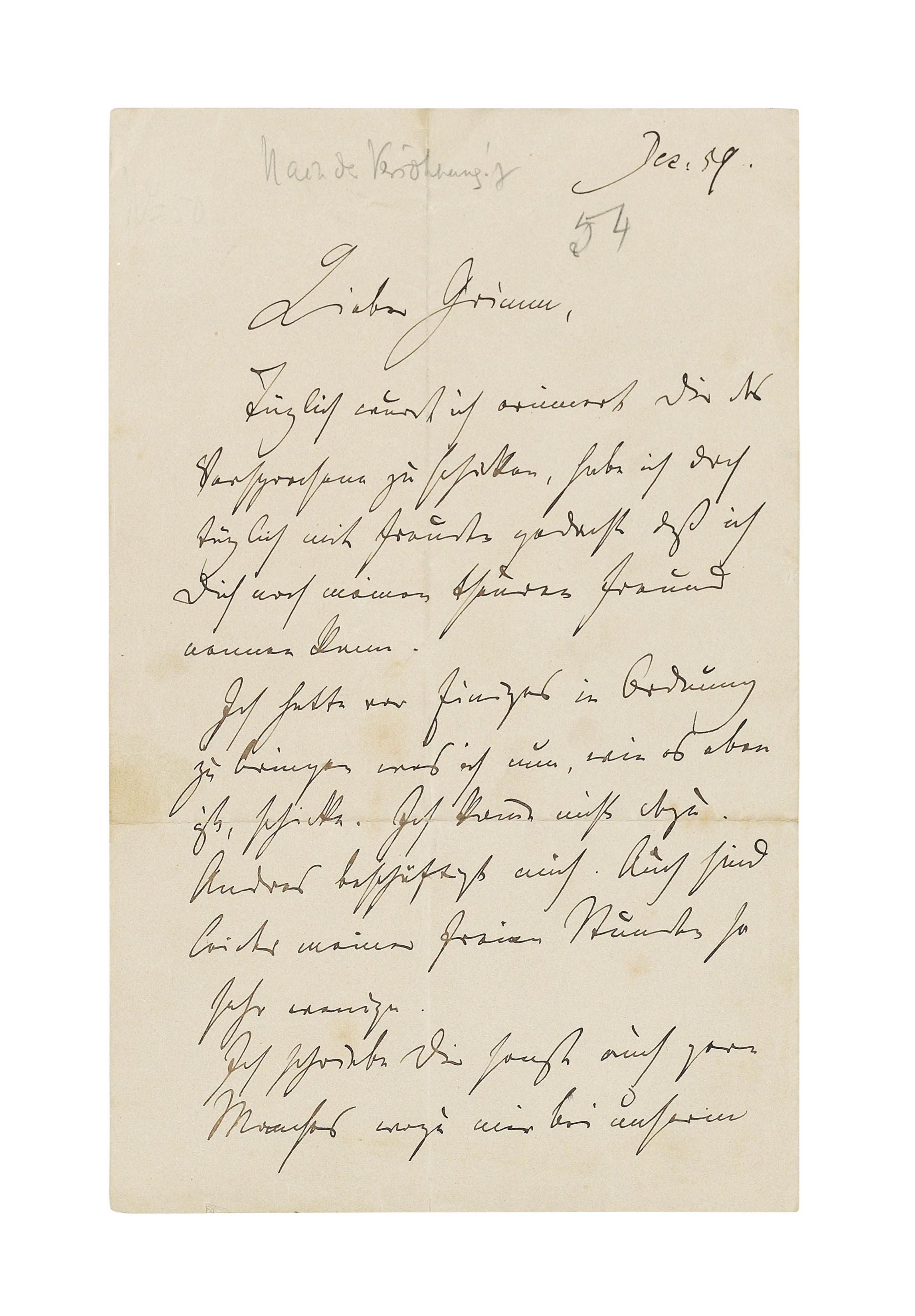 BRAHMS, Johannes (1833-1897). Autograph letter signed ('Johannes') to [his friend Julius Otto] Grimm, n.p. [Hamburg], December 1859, a letter of warm friendship referring to a promised parcel of compositions he has been daily reminded to send, complaining of his lack of free time, mentioning his intention to write things that he could not say during their last meeting, and asking Grimm's opinion on the compositions, 2 pages, 8vo, bifolium. Provenance: Liepmannsohn, Berlin, 1928; collection of Dr Fritz and Dita Callomon, and thence by gift, 1950.