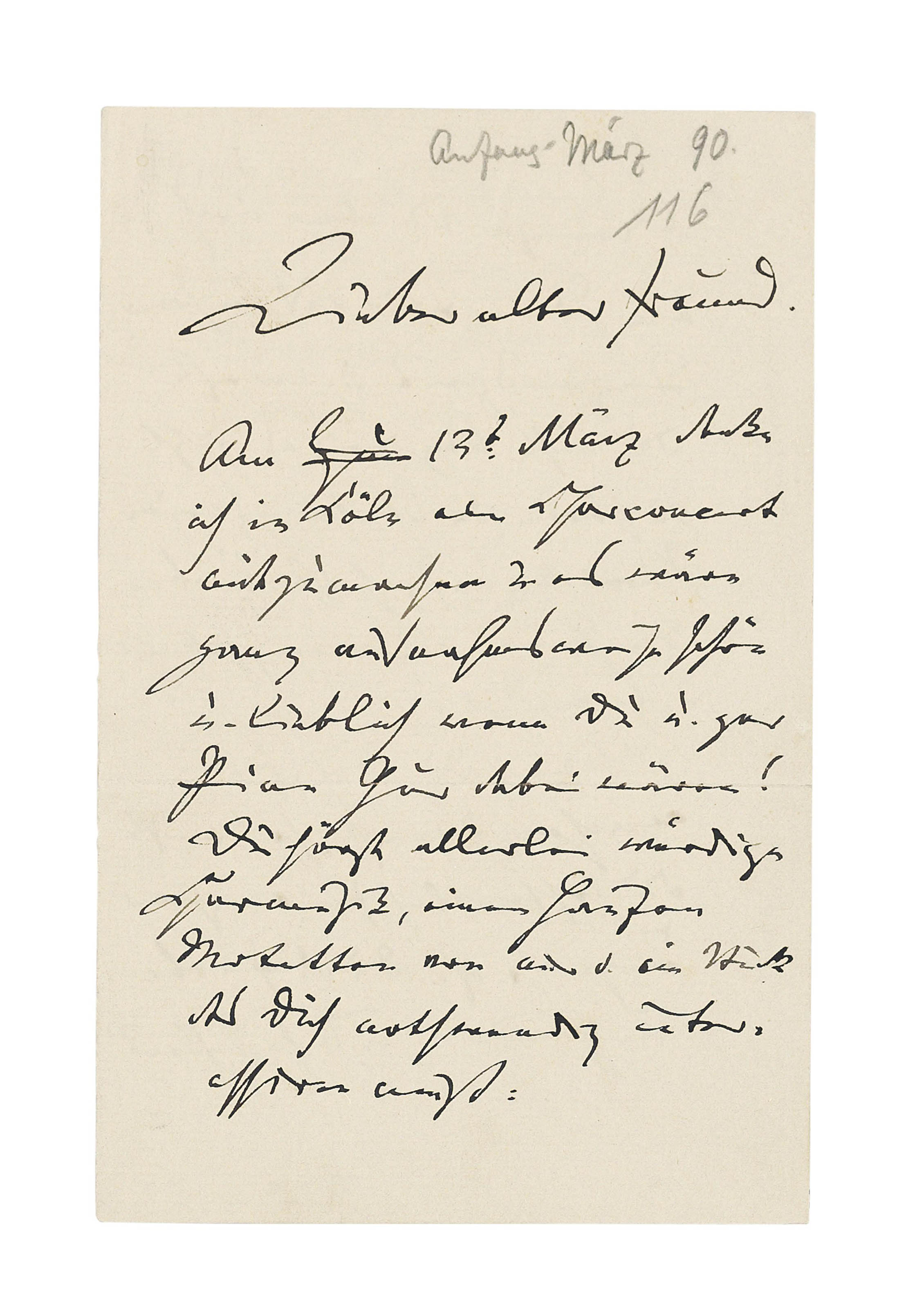 BRAHMS, Johannes (1833-1897). Autograph letter signed ('J. Brahms') to [his friend Julius Otto Grimm], n.p. [Vienna], n.d. [early March 1890], inviting him to a choral concert in Cologne on the 13th at which he will hear 'all sorts of estimable choral music, a heap of motets by me, and a piece that must necessarily interest you', for Brahms has brushed off a trio from their youth (the op.8, which he had just revised) and 'if not given it a wig, at least combed and tidied its hair'; the prospect of seeing Grimm again makes him 'as happy as a snow-king', 2½ pages, 8vo, bifolium (minor spotting). Provenance: collection of Dr Fritz and Dita Callomon, and thence by gift.
