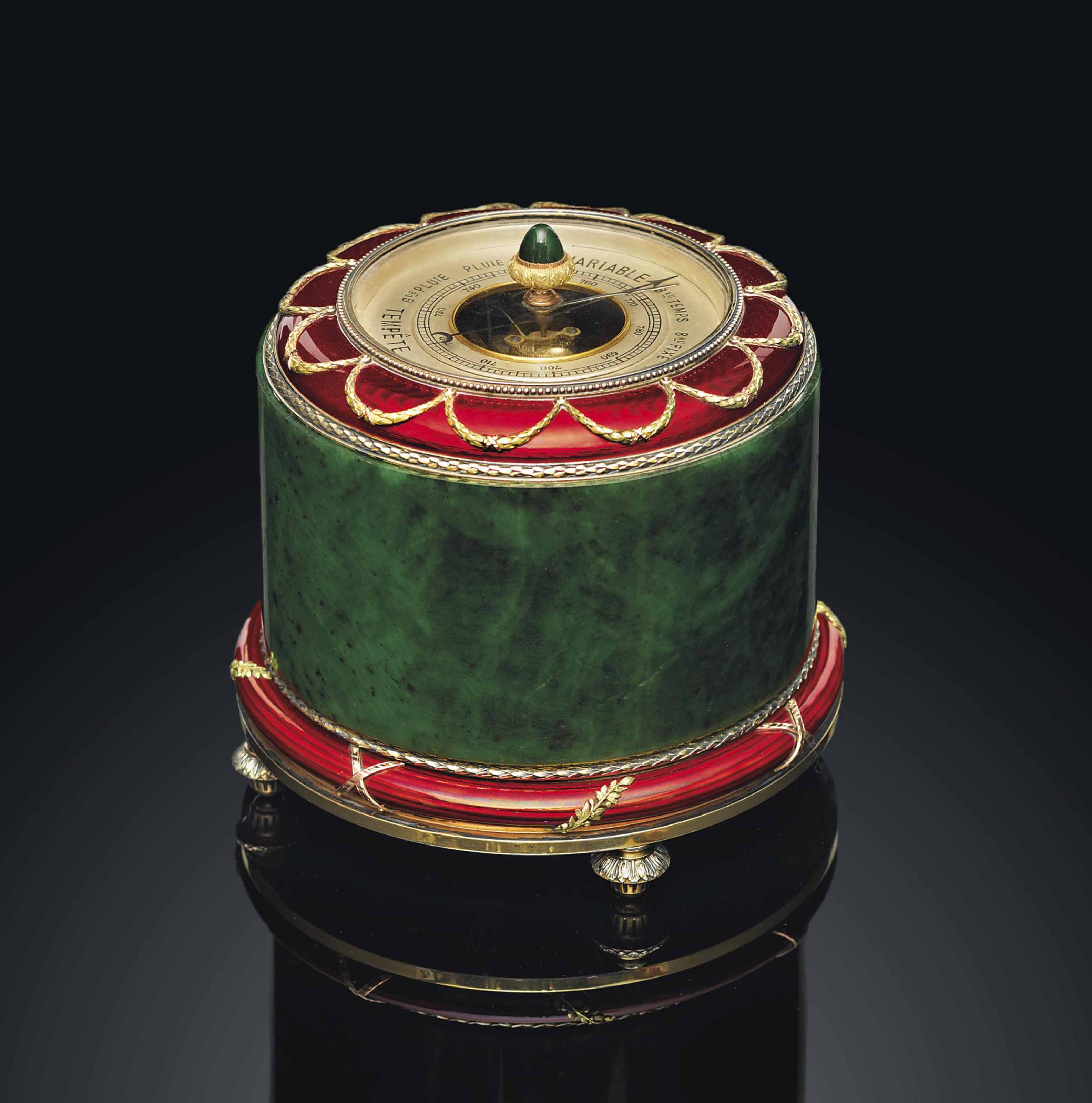 A SILVER-GILT, NEPHRITE AND GUILLOCHÉ ENAMEL TABLE BAROMETER