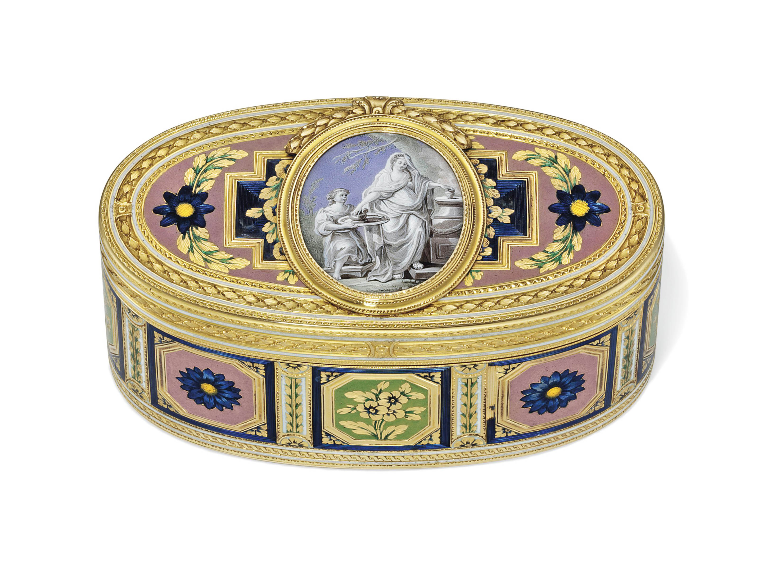 A LOUIS XV ENAMELLED GOLD SNUFF-BOX THE INTERIOR SET WITH A PORTRAIT MINIATURE