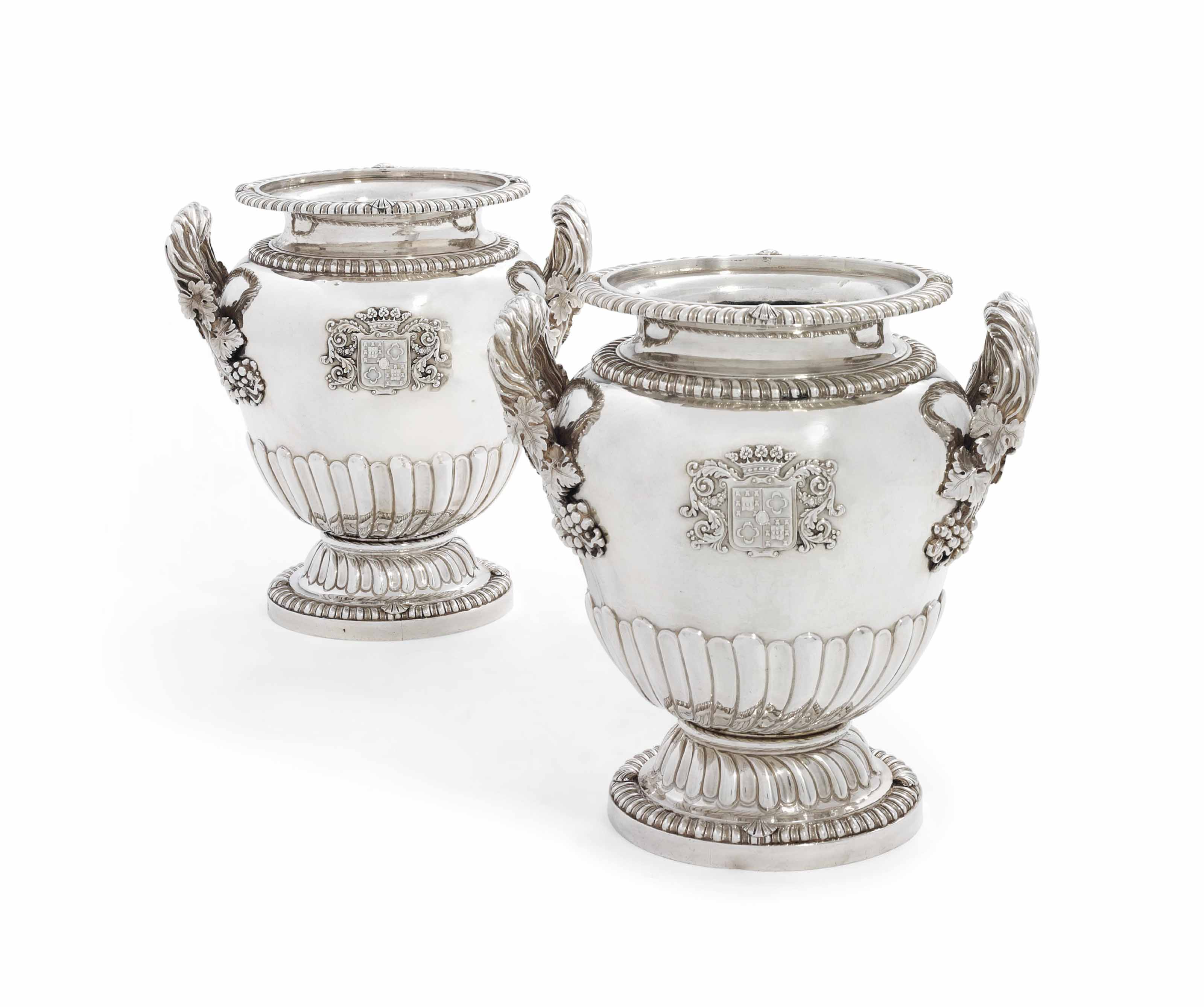 A PAIR OF FRENCH SILVER WINE-COOLERS