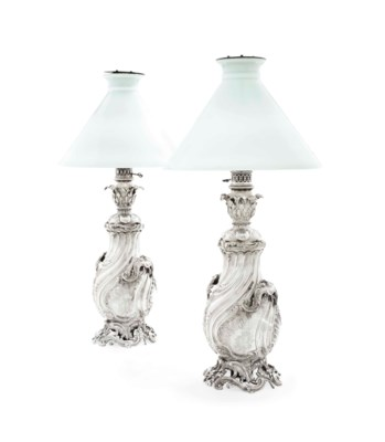 A PAIR OF FRENCH SILVER TABLE-