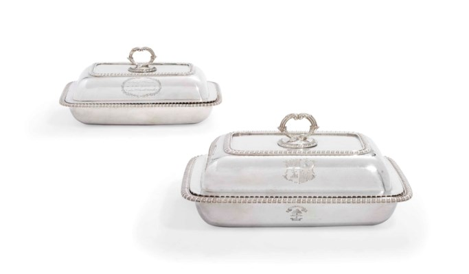 TWO GEORGE III SILVER ENTREE-D