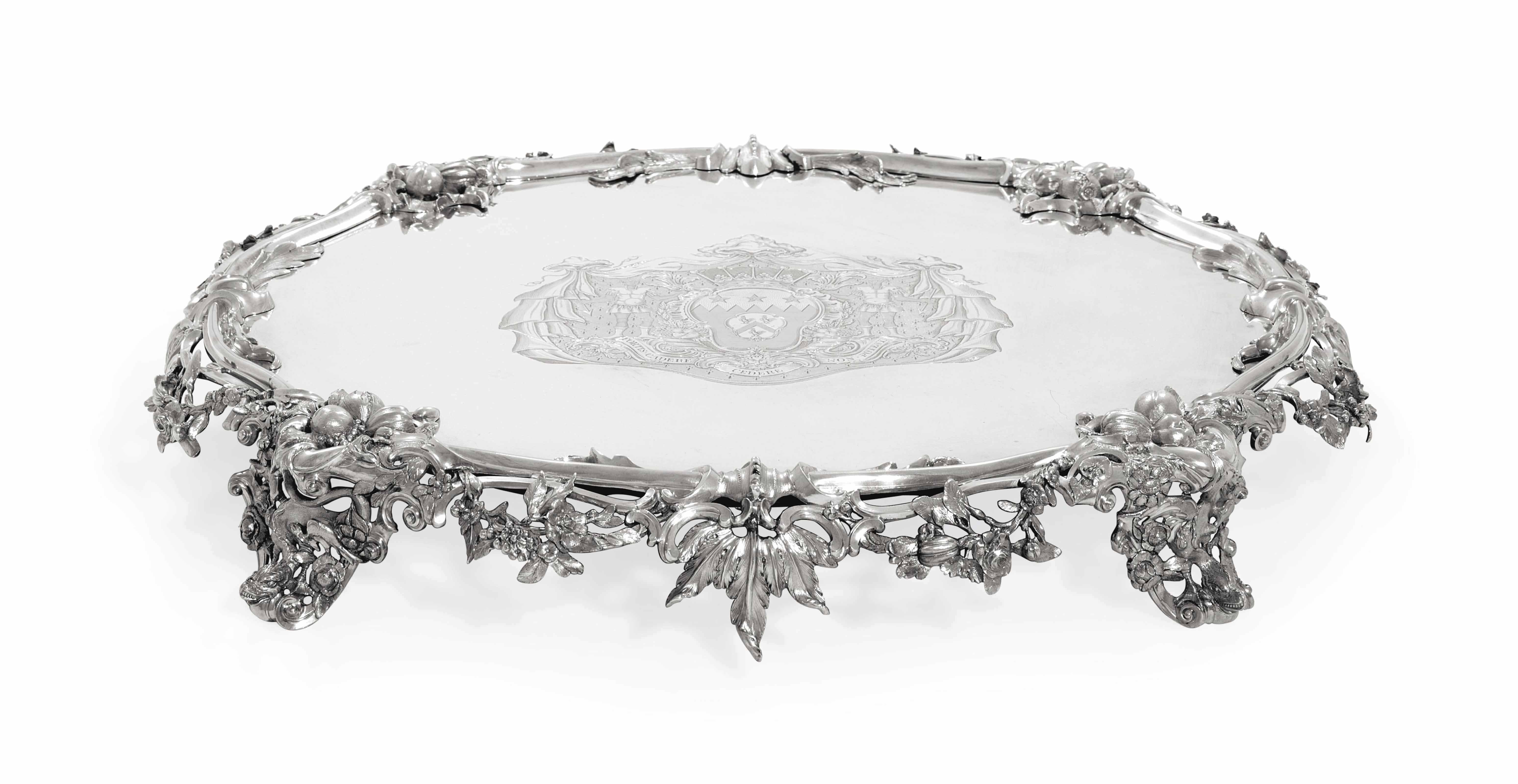 A GEORGE II SILVER TABLE PLATEAU