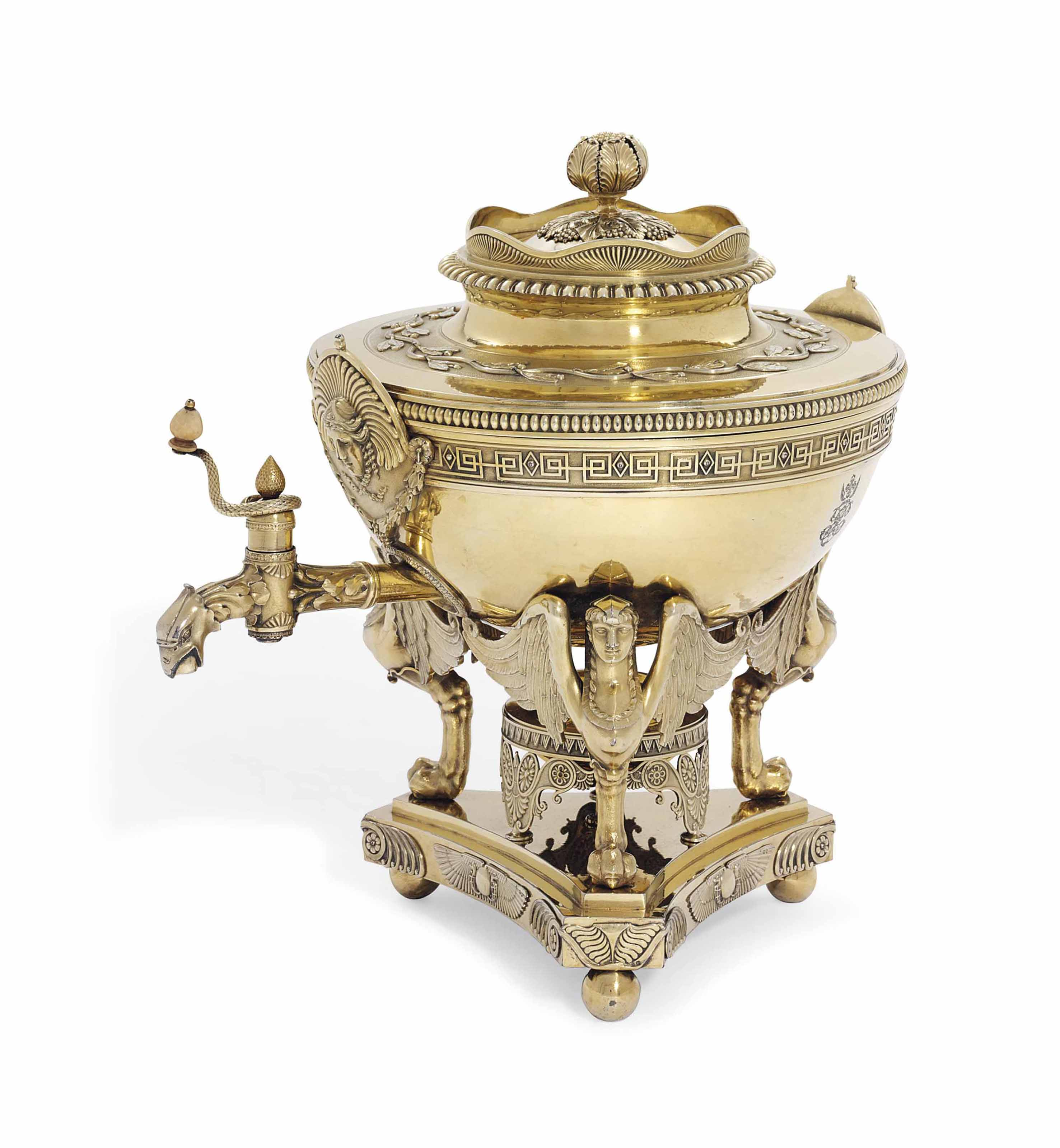 A GEORGE III SILVER-GILT TEA-URN