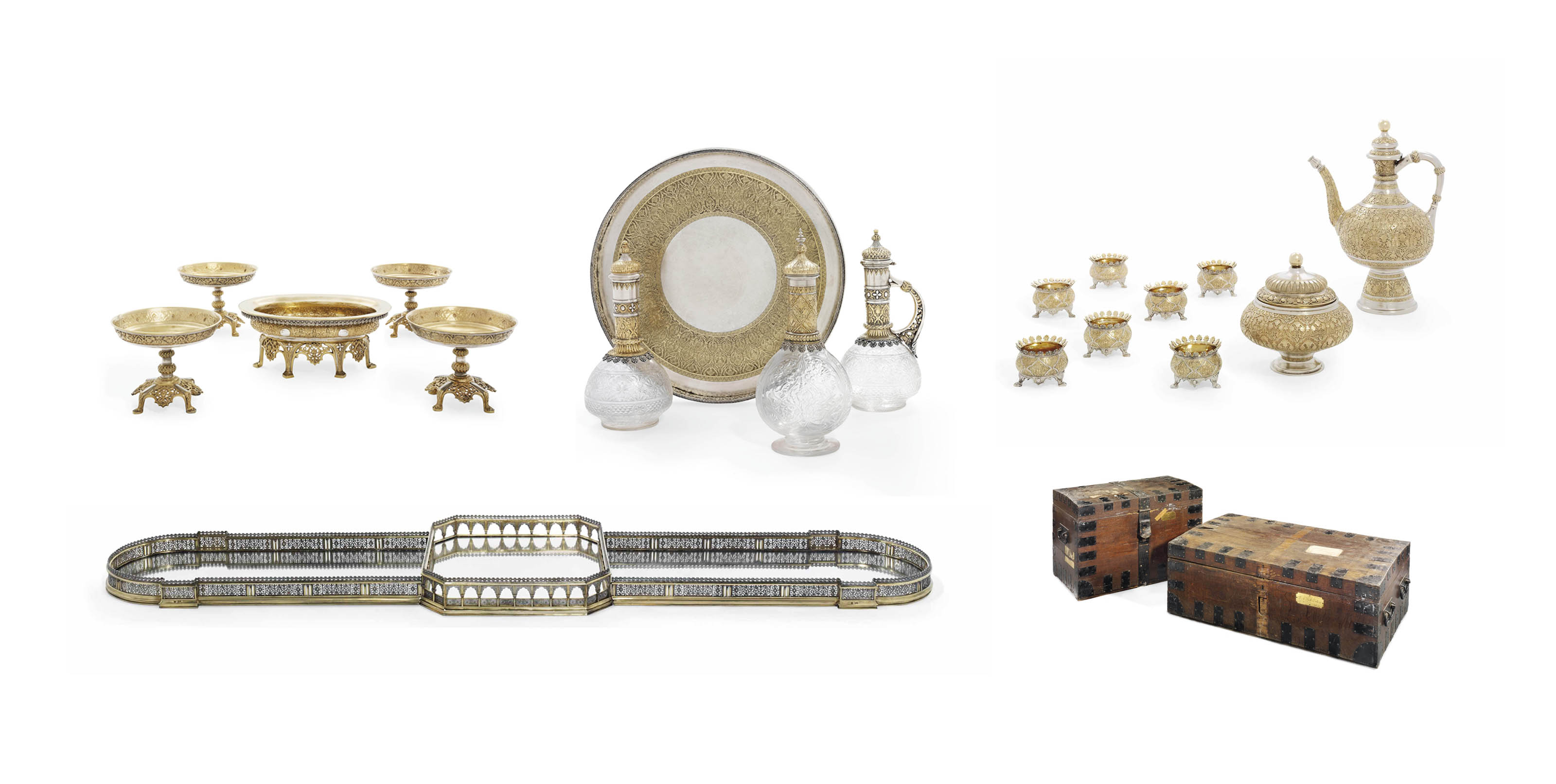 A VICTORIAN PARCEL-GILT SILVER AND ENGRAVED GLASS PART DINNER-SERVICE AND SURTOUT-DE-TABLE
