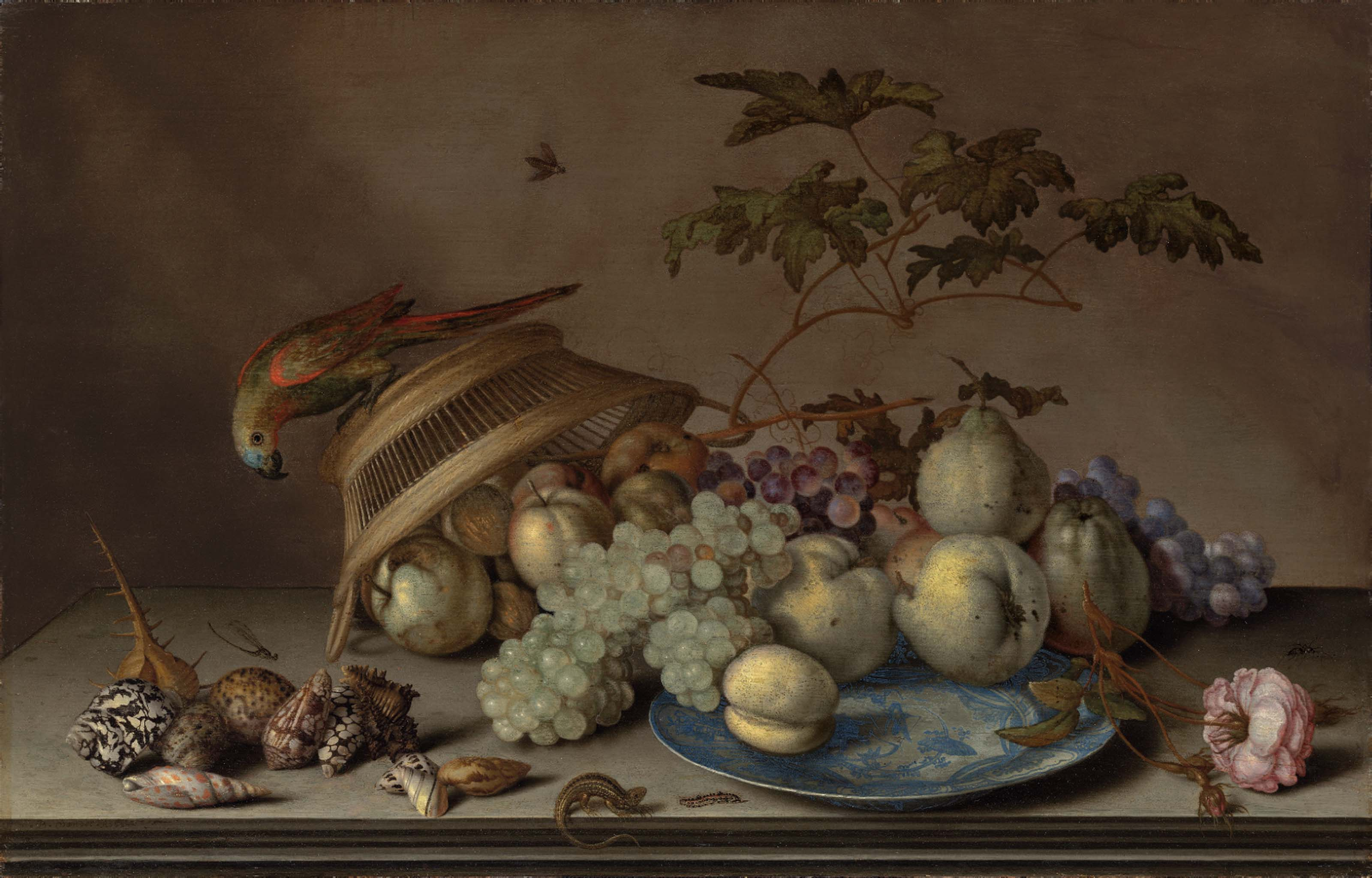 Pears, grapes and a peach on a porcelain platter, with apples, a rose, shells, a dragonfly, a caterpillar and a lizard on a stone ledge, with a parrot on an upturned woven basket