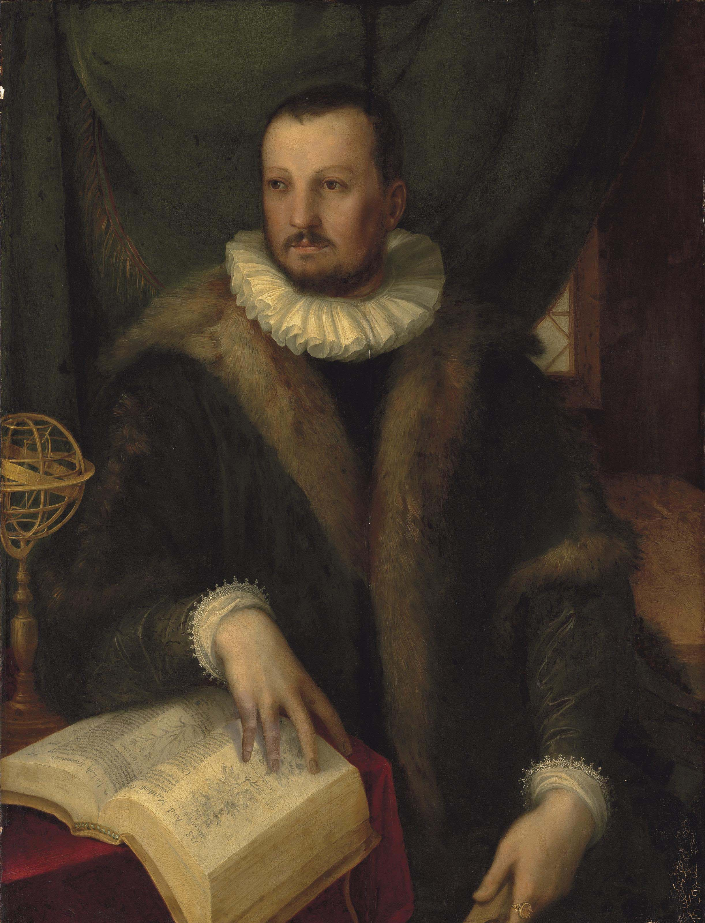 Portrait of Francesco I de' Medici (1541-1587), Grand Duke of Tuscany, three-quarter-length, in a fur-trimmed coat and a white ruff, his hand resting on the pages of Mattioli's 'Commentarii in sex Libros Pedacii Dioscoridis', on a draped table with an armillary sphere, before a curtain