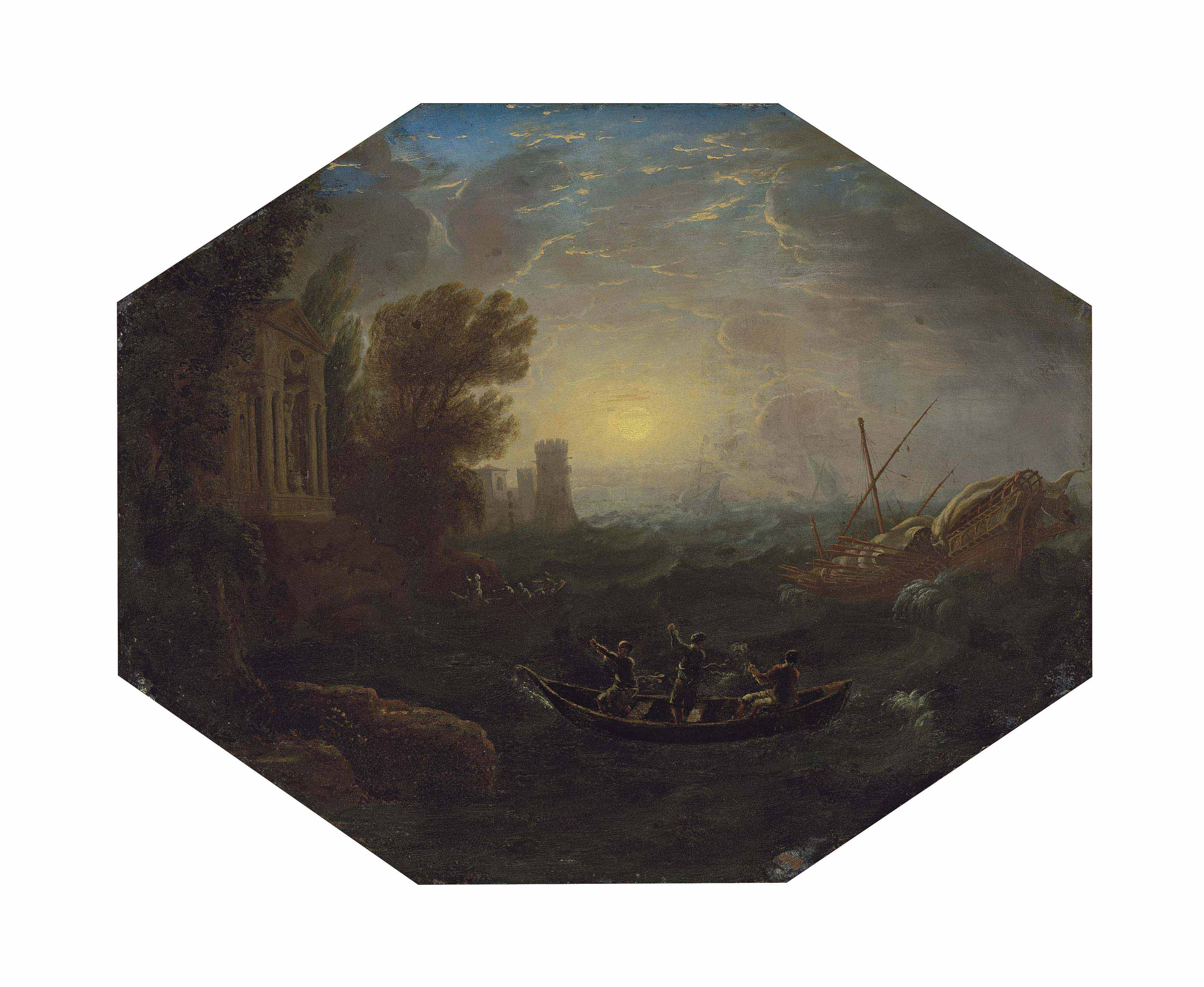 La Tempête: A Mediterranean costal landscape with rowing boats and a galley in rough seas, a seaside temple and a tower, other vessels beyond