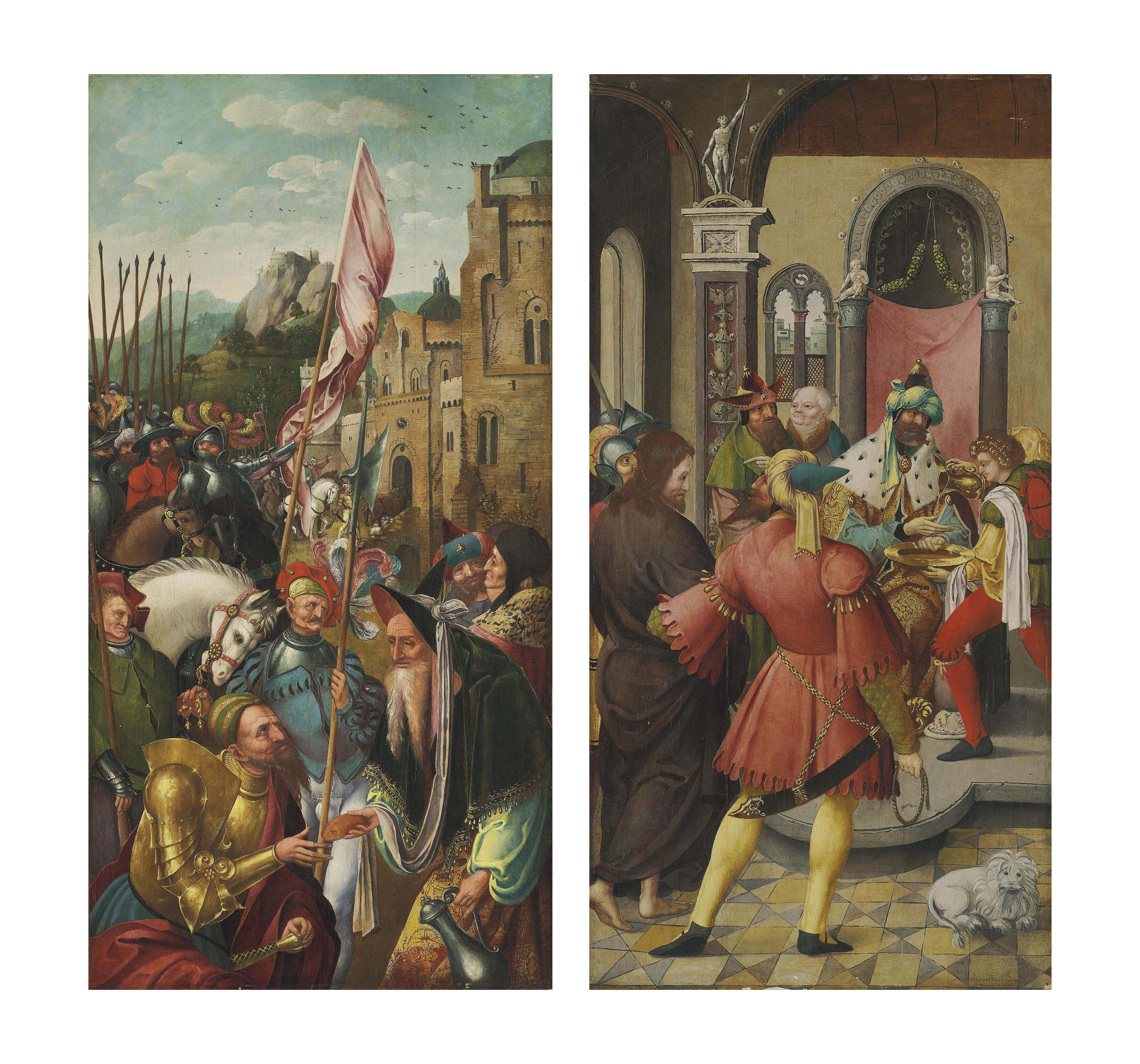 The wing of an altarpiece: The Meeting of Abraham and Melchizedek (verso); and Christ before Pilate (recto)
