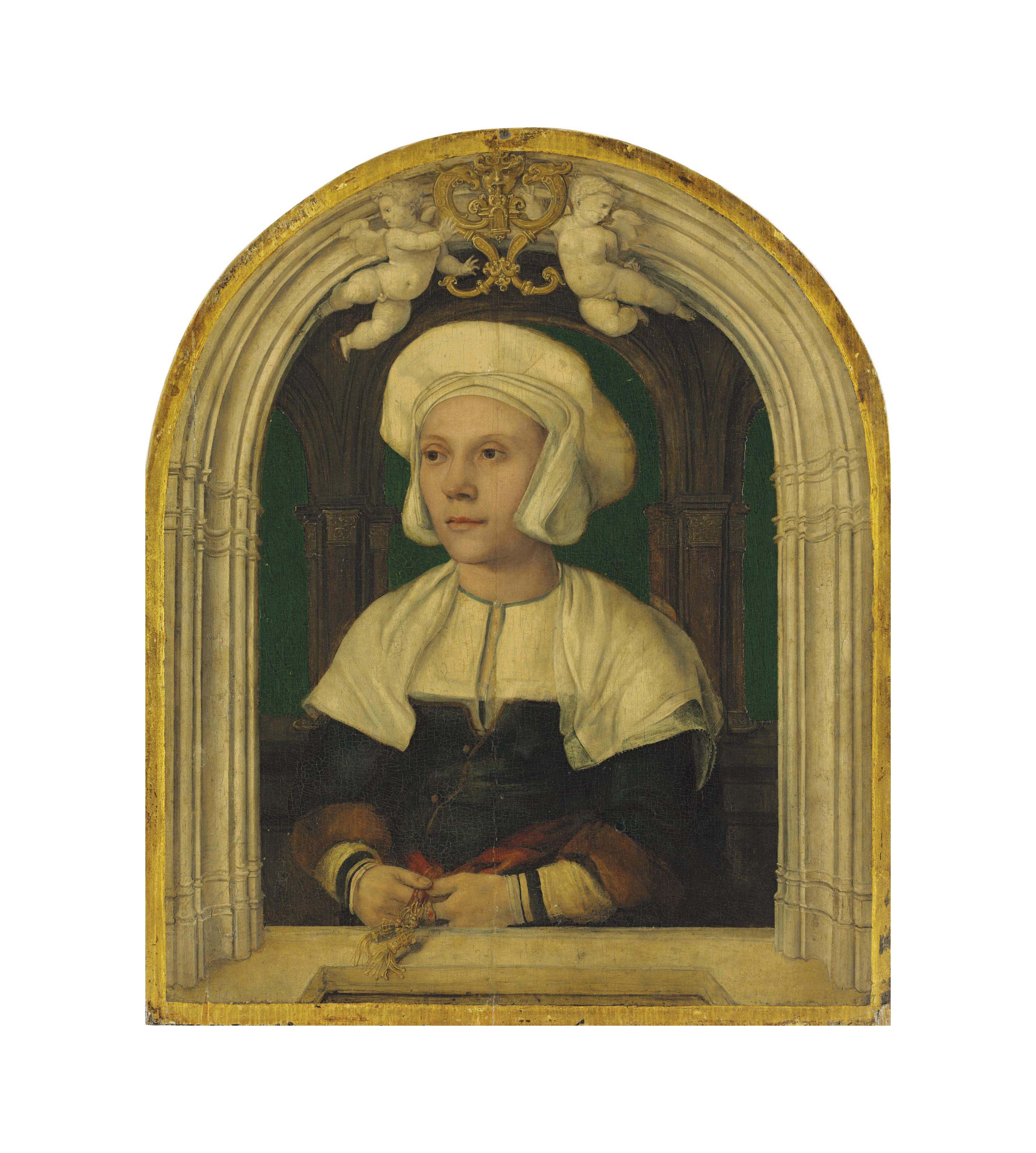 Portrait of a lady, half-length, in a white coif and green bodice with fur-trimmed sleeves, in a trompe-l'oeil architectural setting with putti