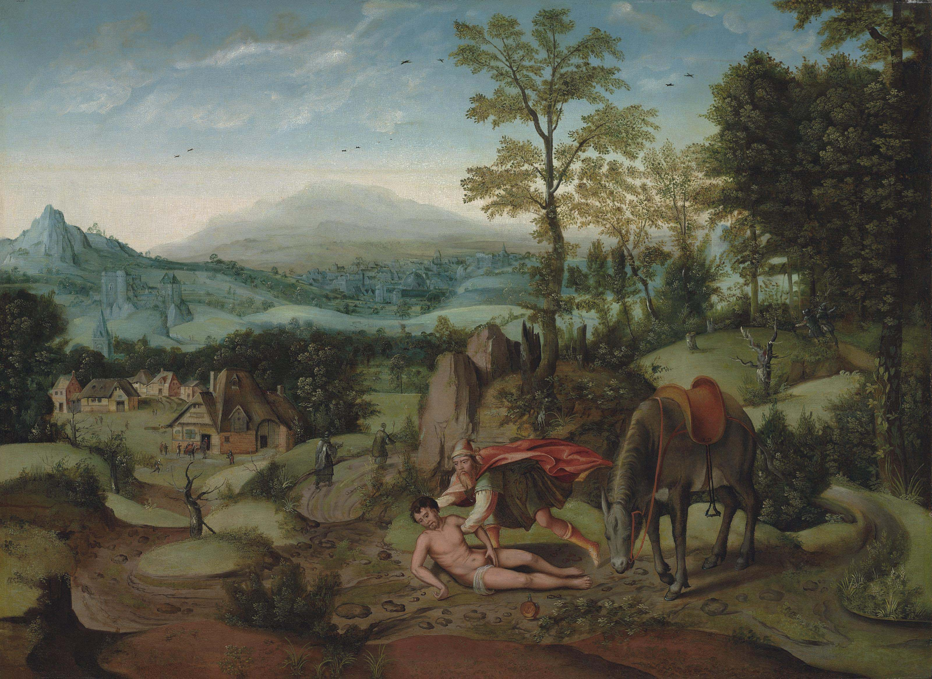 An extensive mountainous landscape with the Good Samaritan
