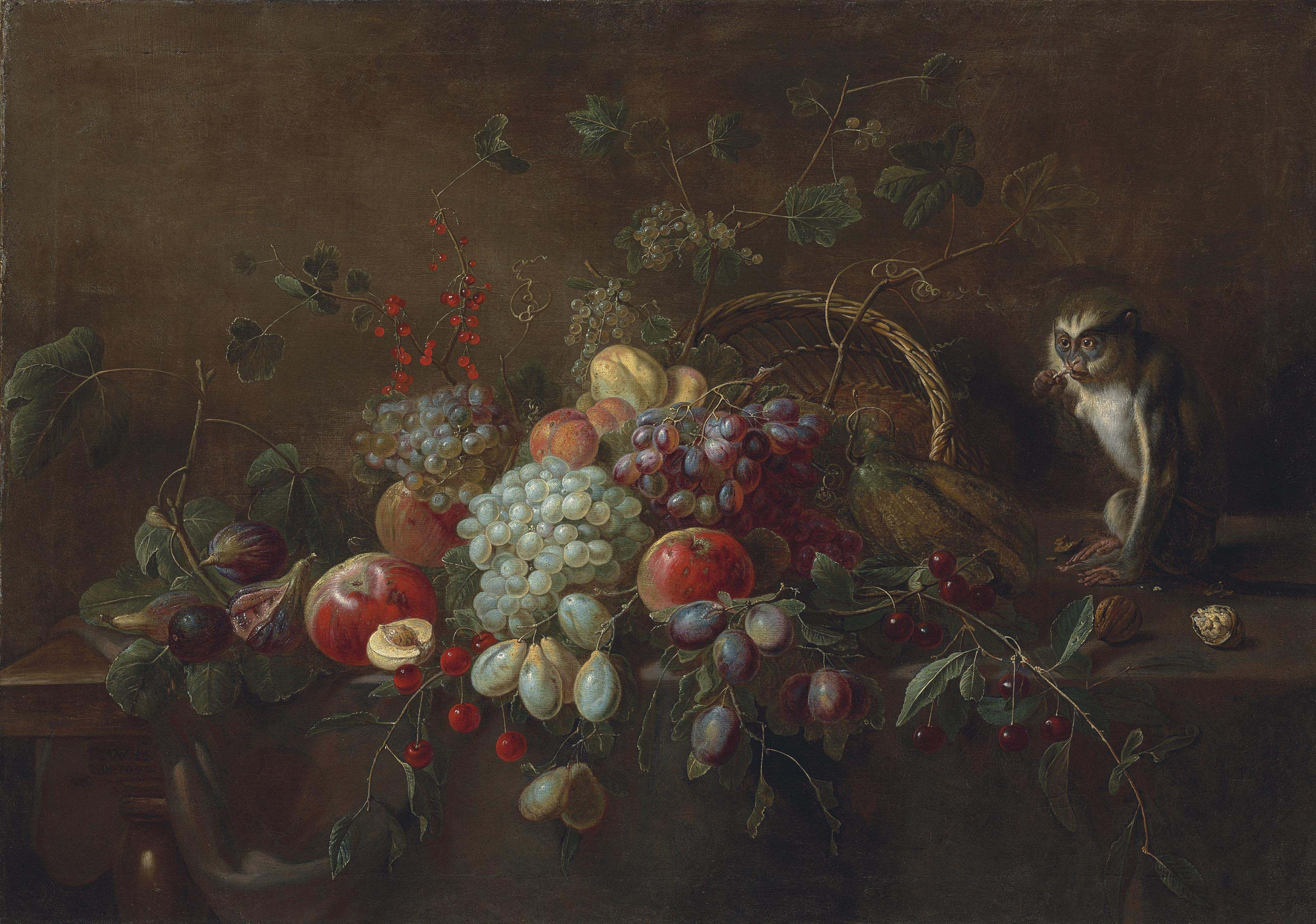 Grapes, apples, plums, figs and other fruit on a partly draped wooden table, a monkey eating walnuts by an upturned woven basket