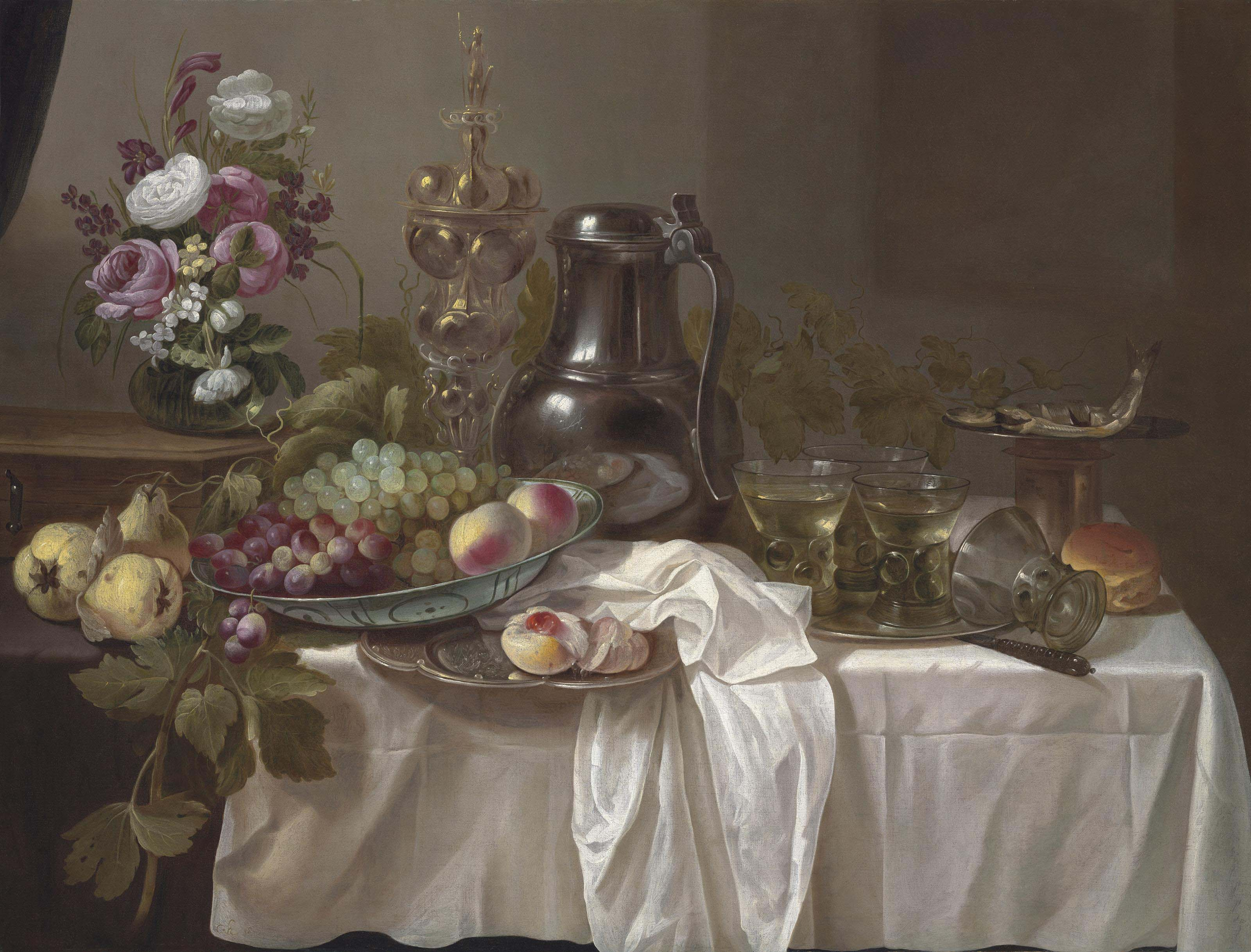 Grapes and peaches in a Wan-Li porcelain bowl, roemers on a pewter platter, peonies, roses and other flowers in a vase on a wooden box, with pears, a jug, a silver gilt cup, bread, fish and a knife on a partially draped table