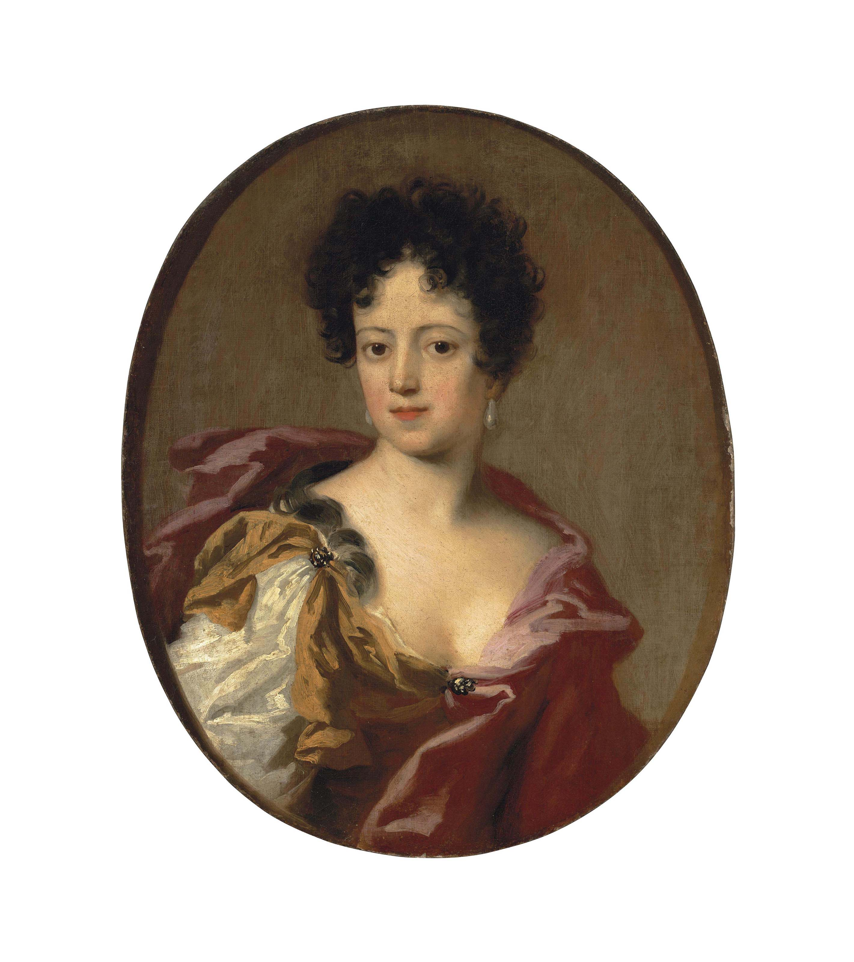 Portrait of a woman, half-length, in a yellow dress and red wrap, with pearl earrings