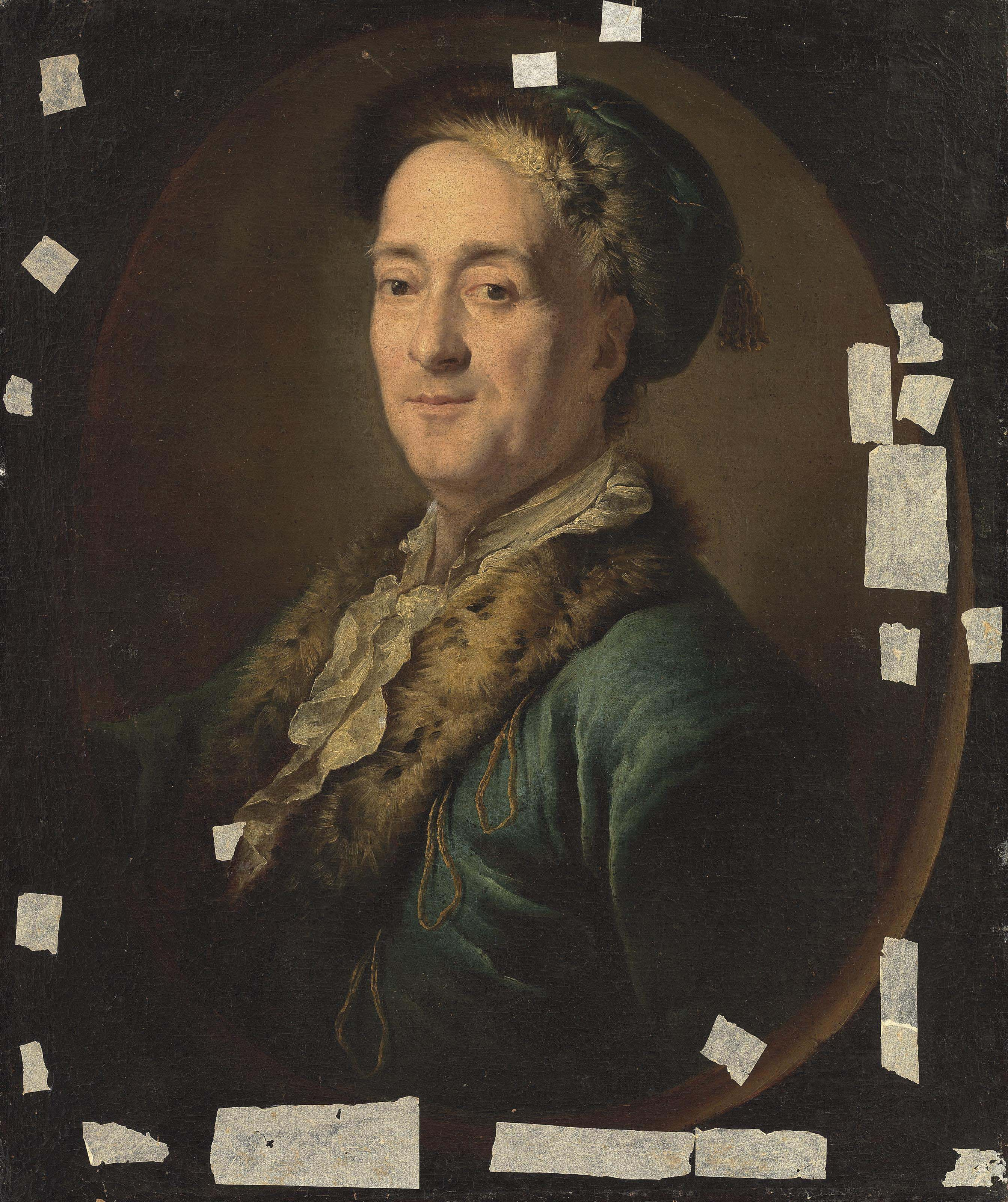 Portrait of an artist, half-length, in a blue, fur-lined coat and hat, in a feigned oval