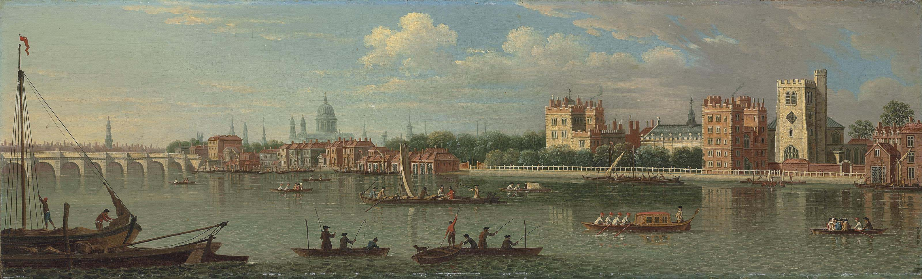 View across the River Thames to Lambeth, with Westminster Bridge and St. Paul's Cathedral beyond
