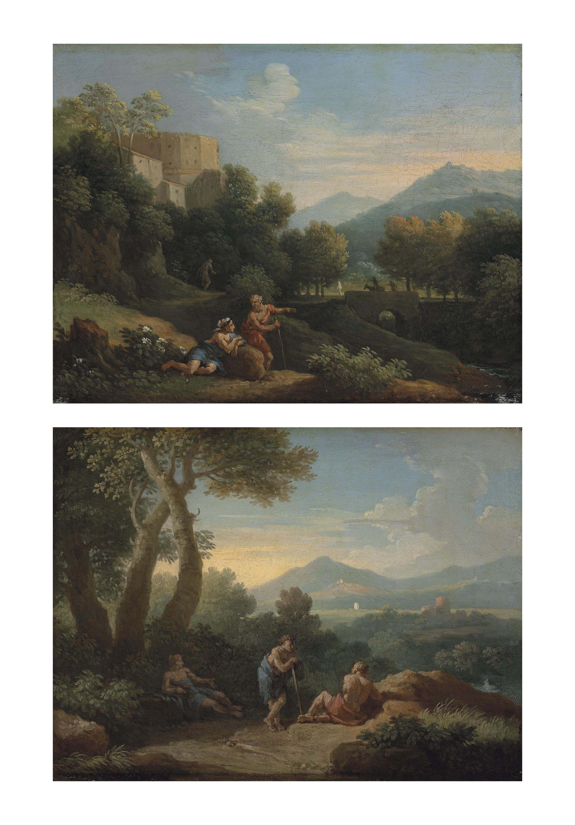 A mountainous Italianate landscape with Arcadian figures conversing on a path, a fortified town beyond; and A wooded Italianate landscape with Arcadian figures conversing on a path