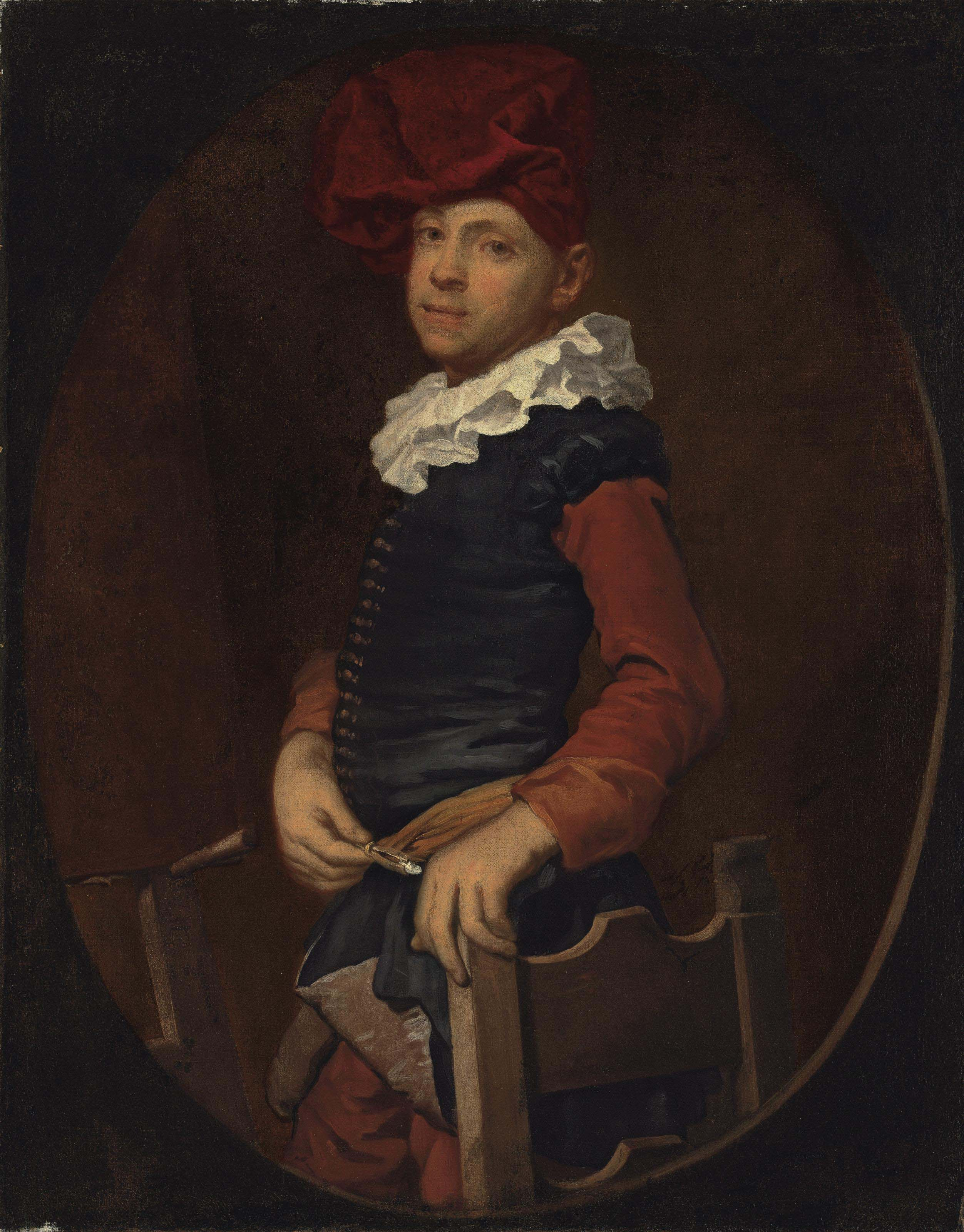 Portrait of an artist, half-length, in a black vest and ruff with a red turban, before an easle, in a feigned oval