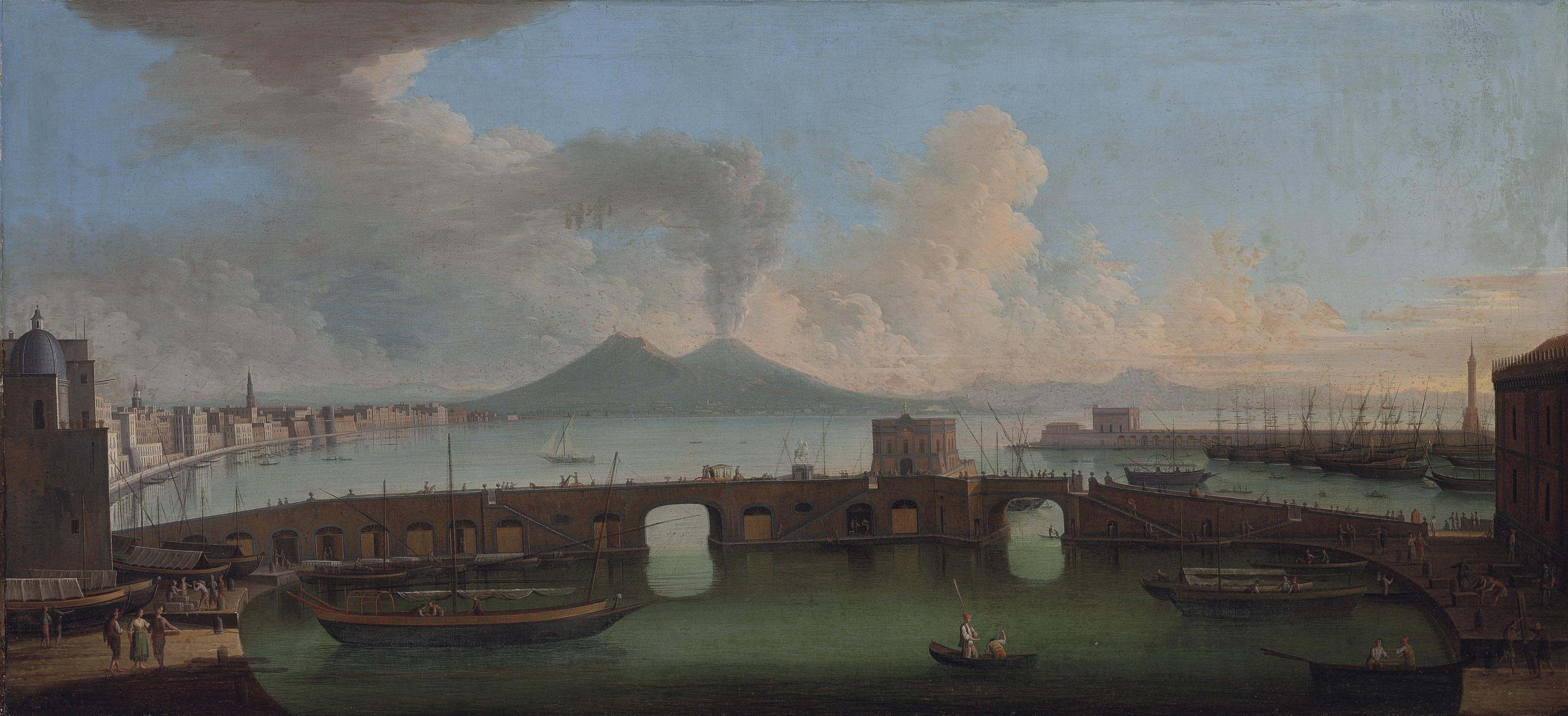 A view of the Bay of Naples with the Ponte Nuovo, Vesuvius beyond