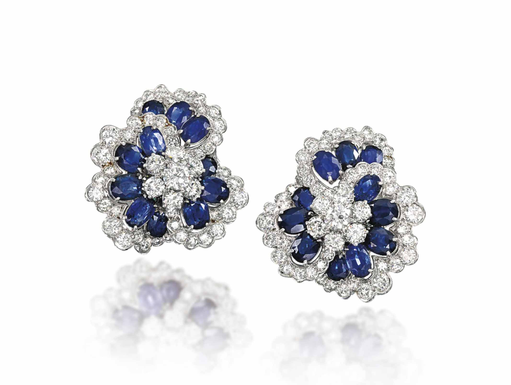 A PAIR OF SAPPHIRE AND DIAMOND EAR CLIPS, BY VOURAKIS