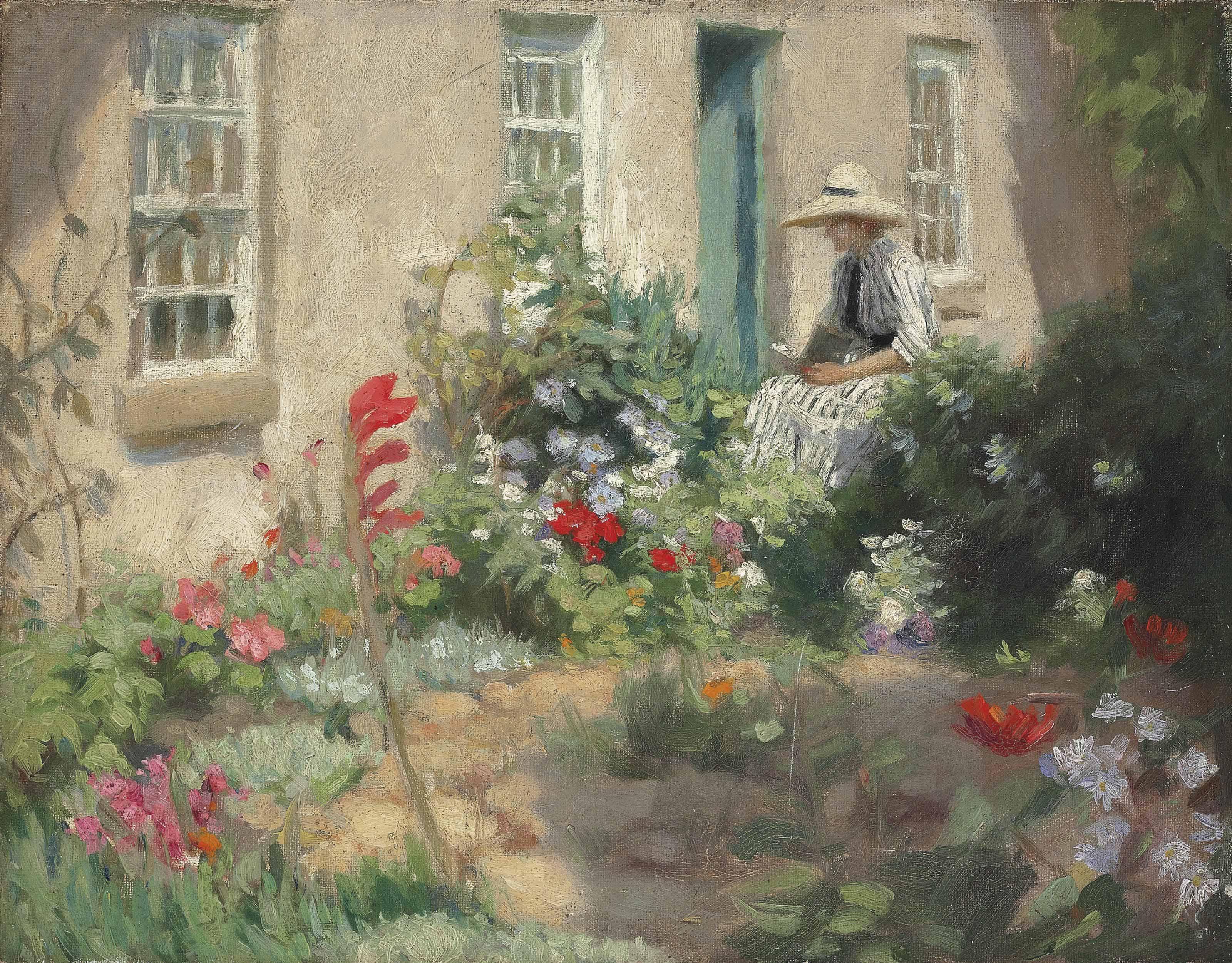 A woman reading in a garden
