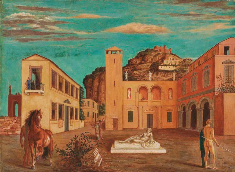 Giorgio de Chirico (1888-1978), Piazza dItalia (Mercurio e i metafisici), 1920. 22⅛ x 30 in (56 x 76.2 cm). Sold for £847,650 on 11 October 2012  at Christie's in London