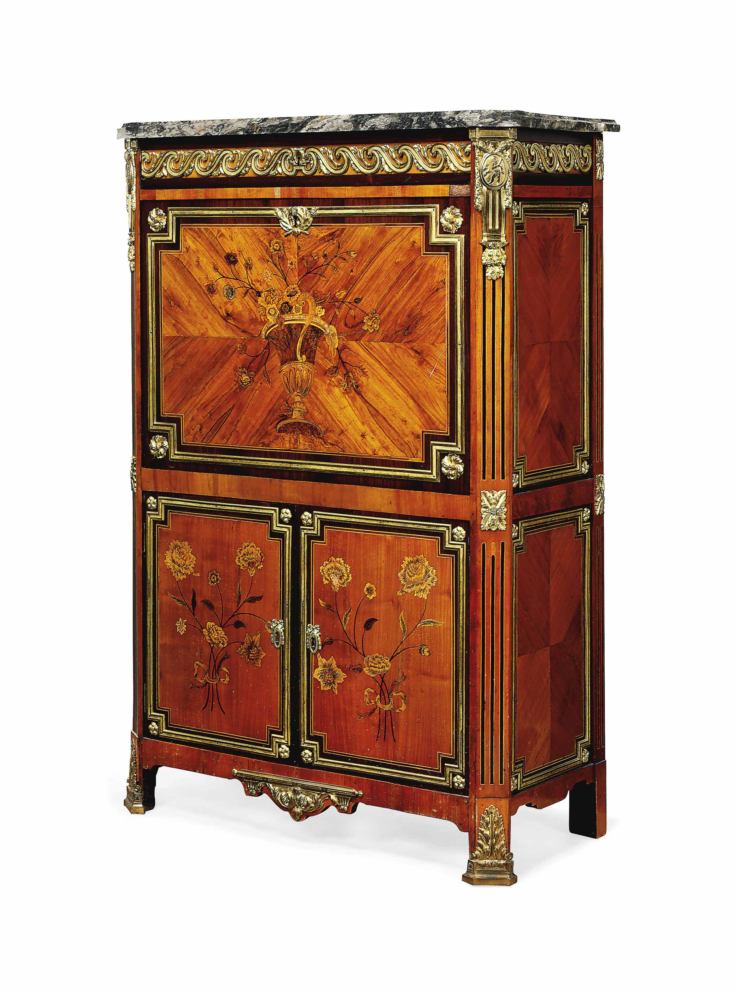 A FRENCH ORMOLU-MOUNTED FRUITWOOD AND MARQUETRY SECRETAIRE A ABATTANT