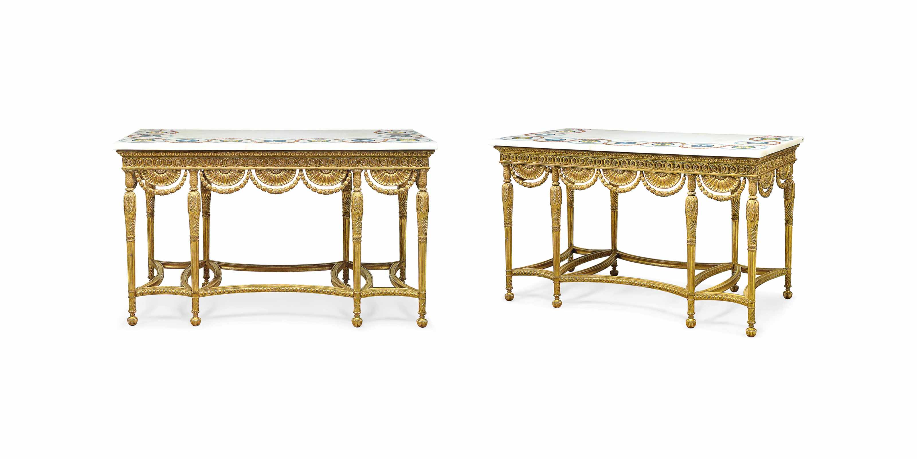 A PAIR OF GEORGE III GILTWOOD, SCAGLIOLA AND WHITE MARBLE PIER-TABLES