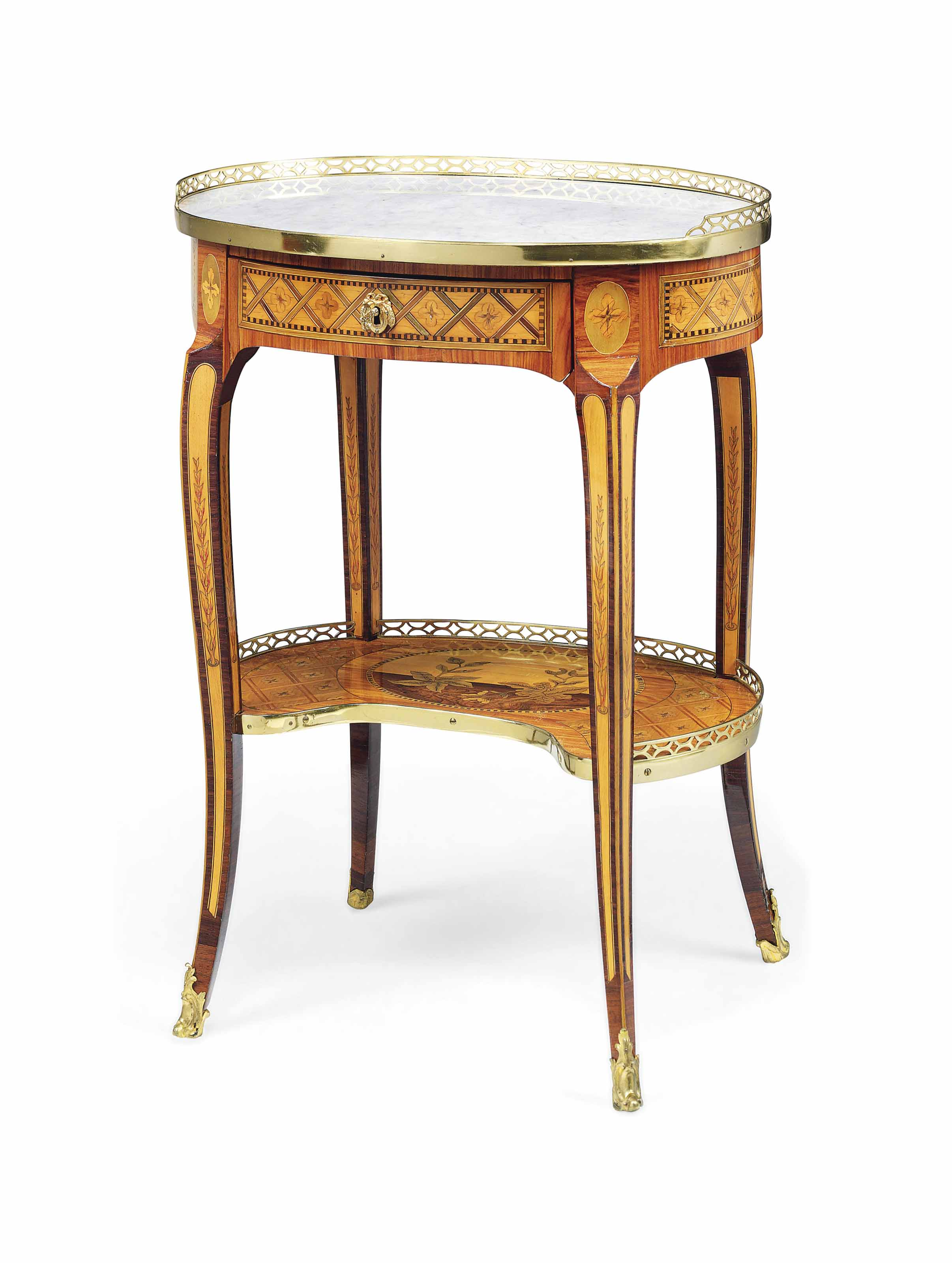 A LOUIS XV GILT-LACQUERED-BRASS MOUNTED TULIPWOOD, MARQUETRY AND PARQUETRY TABLE A ECRIRE