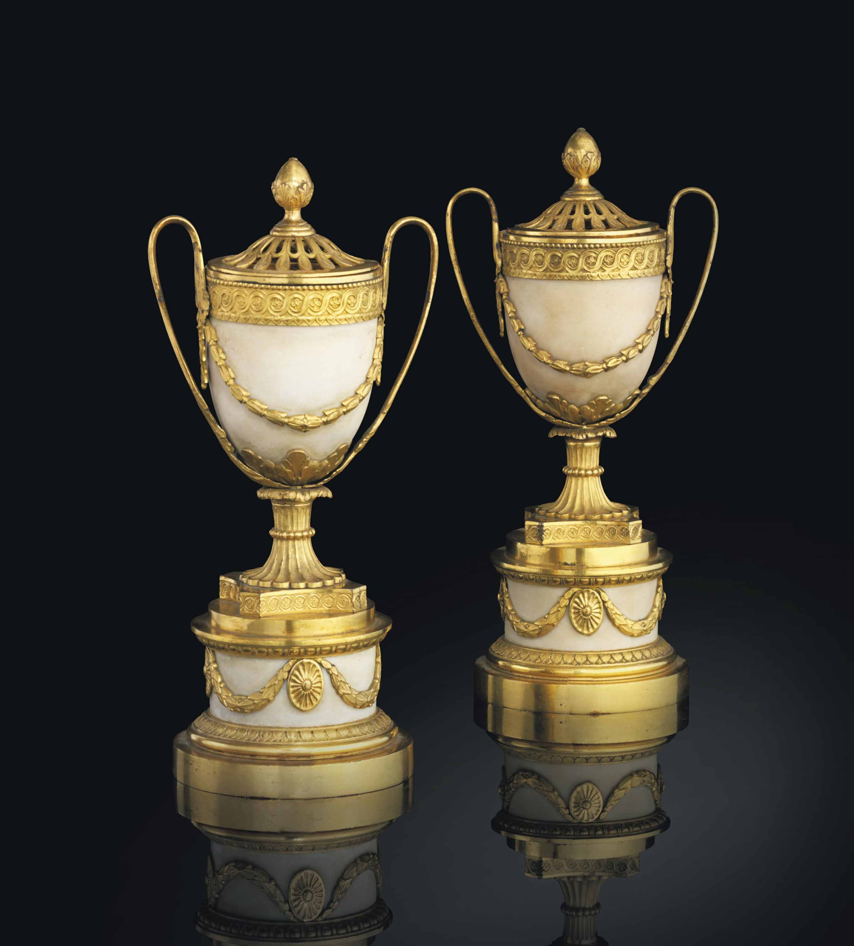 A PAIR OF GEORGE III ORMOLU-MOUNTED WHITE MARBLE POT-POURRI VASES AND COVERS