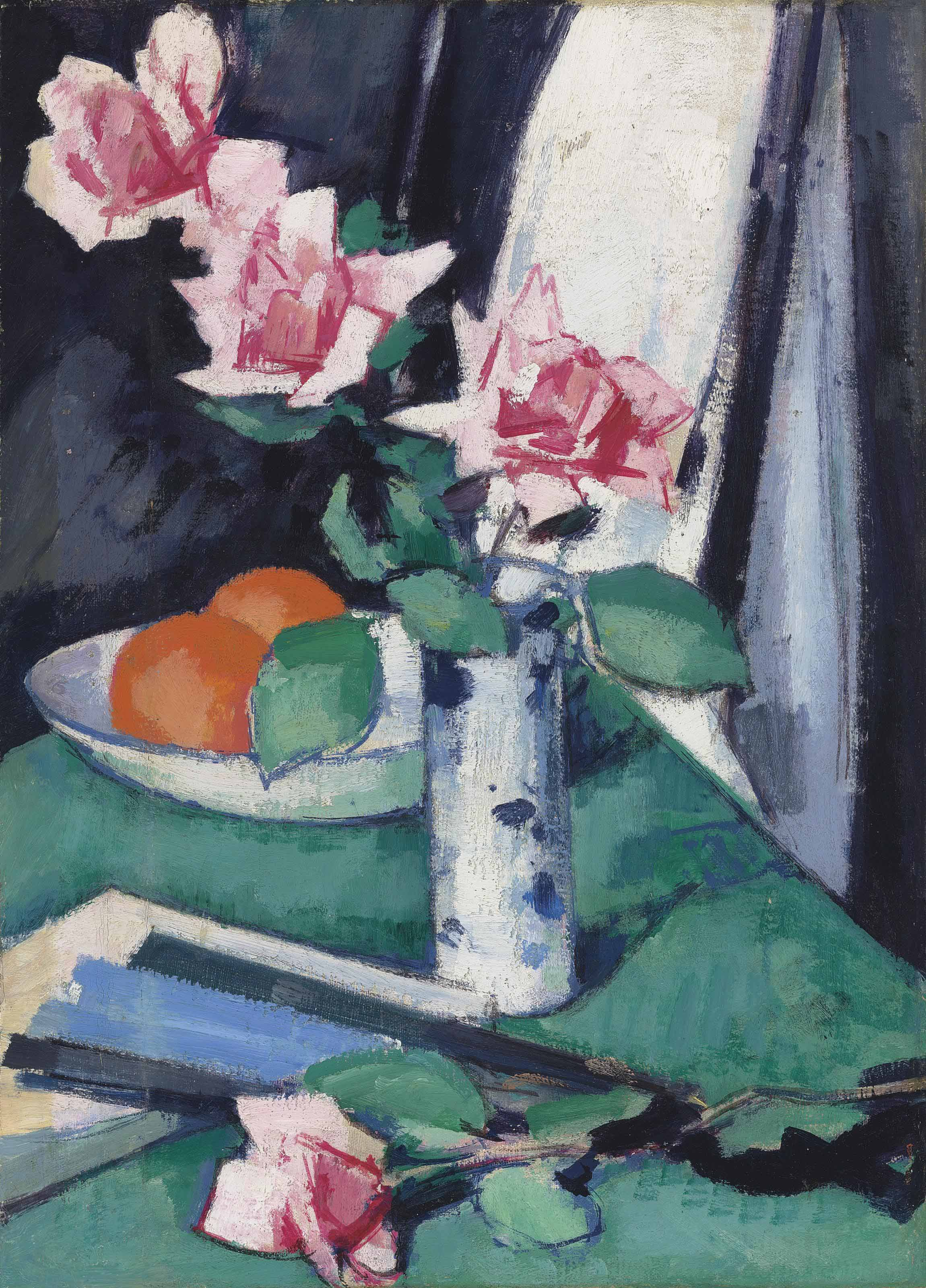 Still life with Pink Roses and Oranges in a blue and white vase