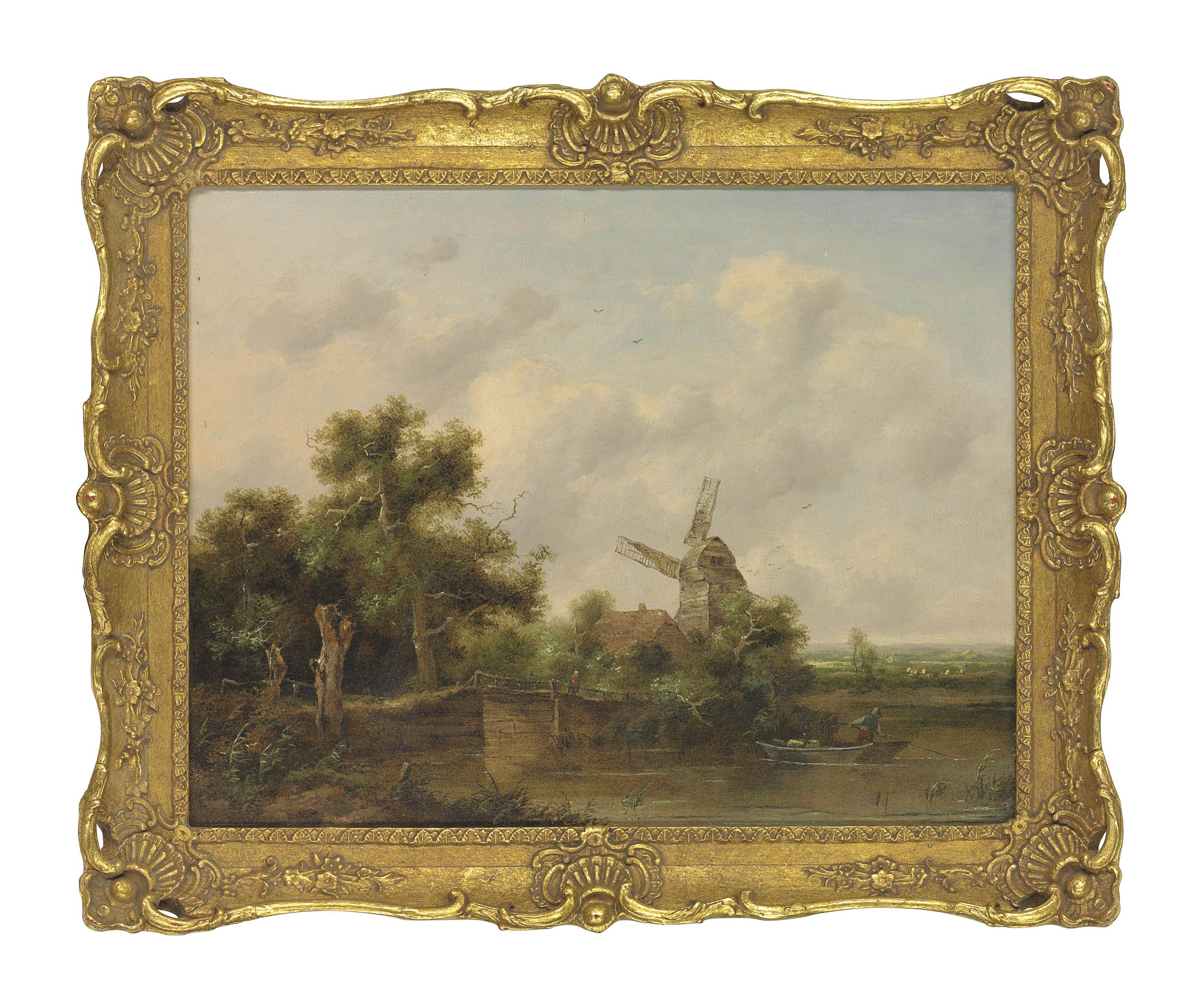 A river landscape with a man punting, a windmill beyond