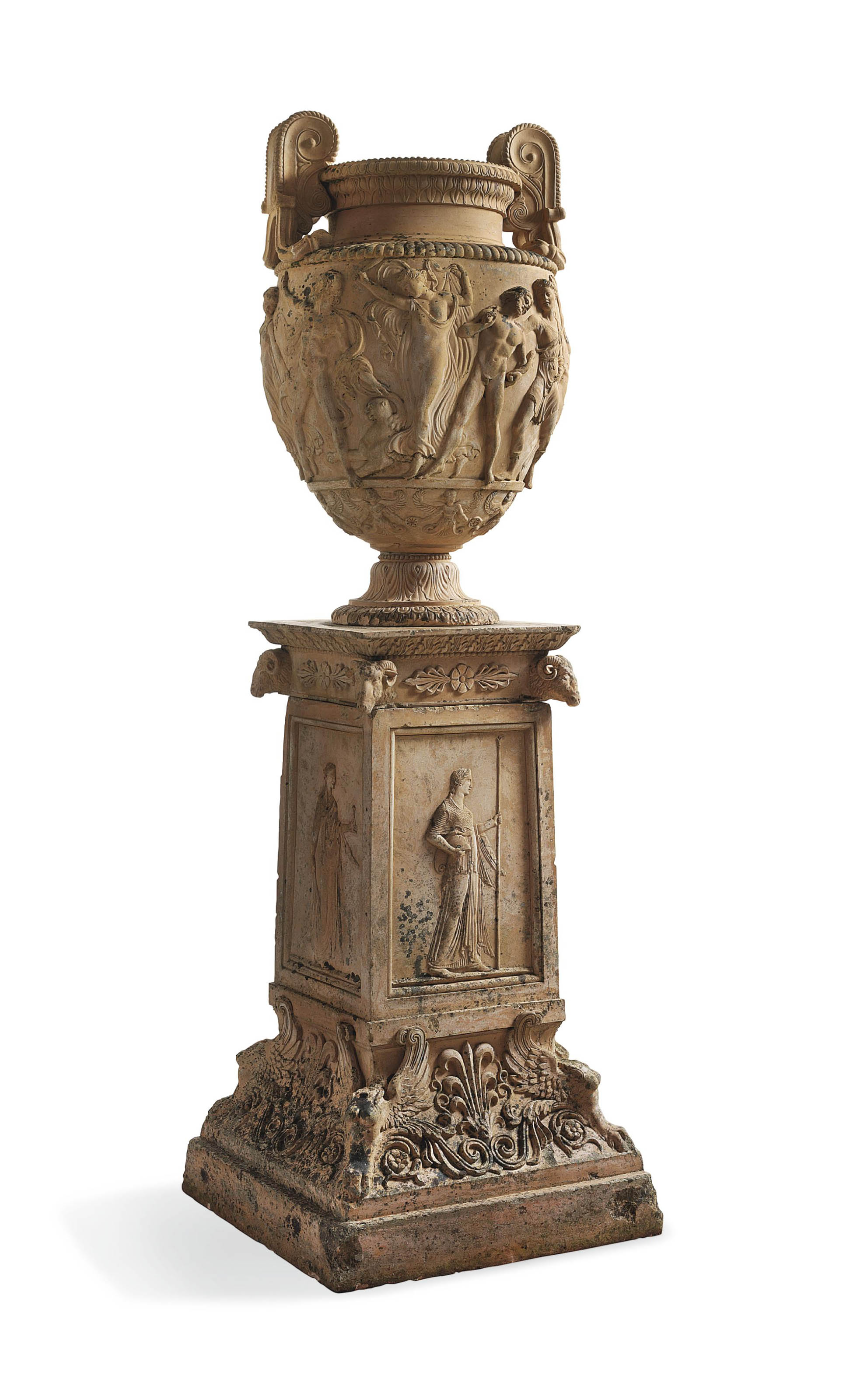 A VICTORIAN TERRACOTTA MODEL OF THE TOWNLEY VASE ON PEDESTAL