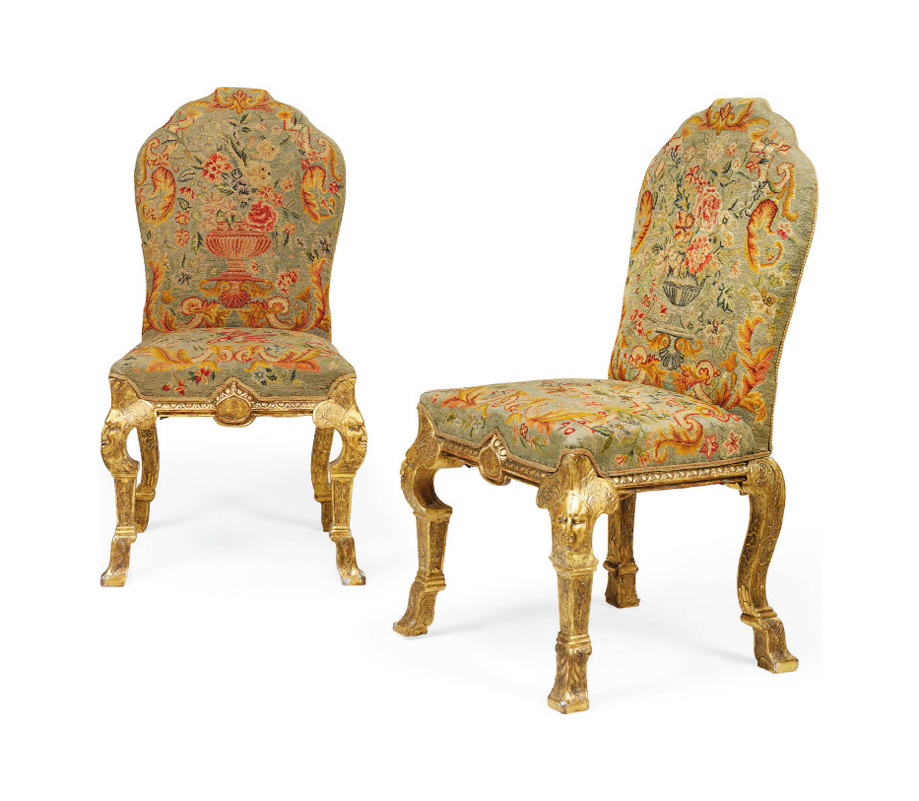 A PAIR OF GEORGE I-STYLE GILTWOOD SIDE CHAIRS