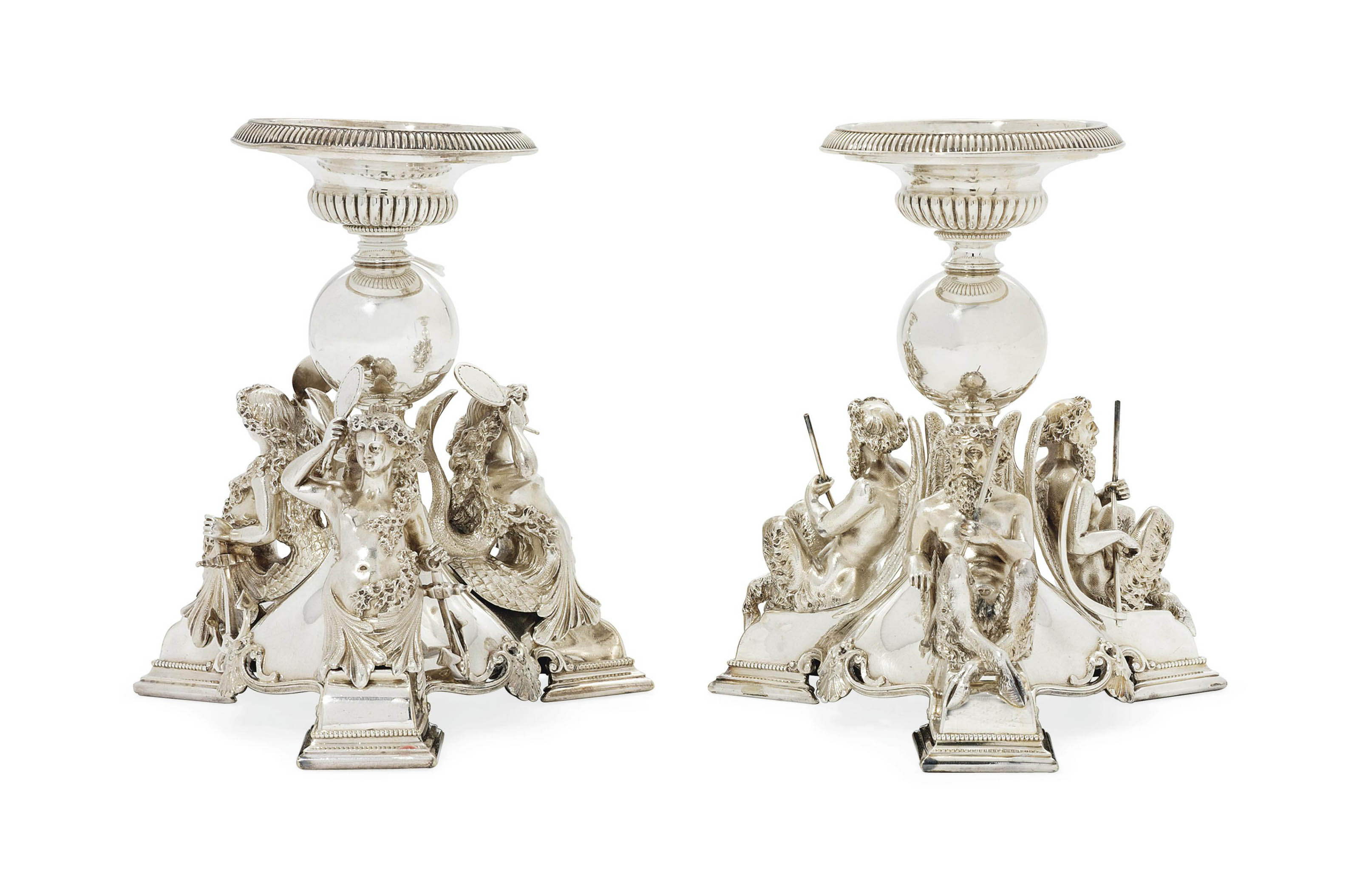 TWO VICTORIAN SILVER-PLATED DESSERT-STANDS