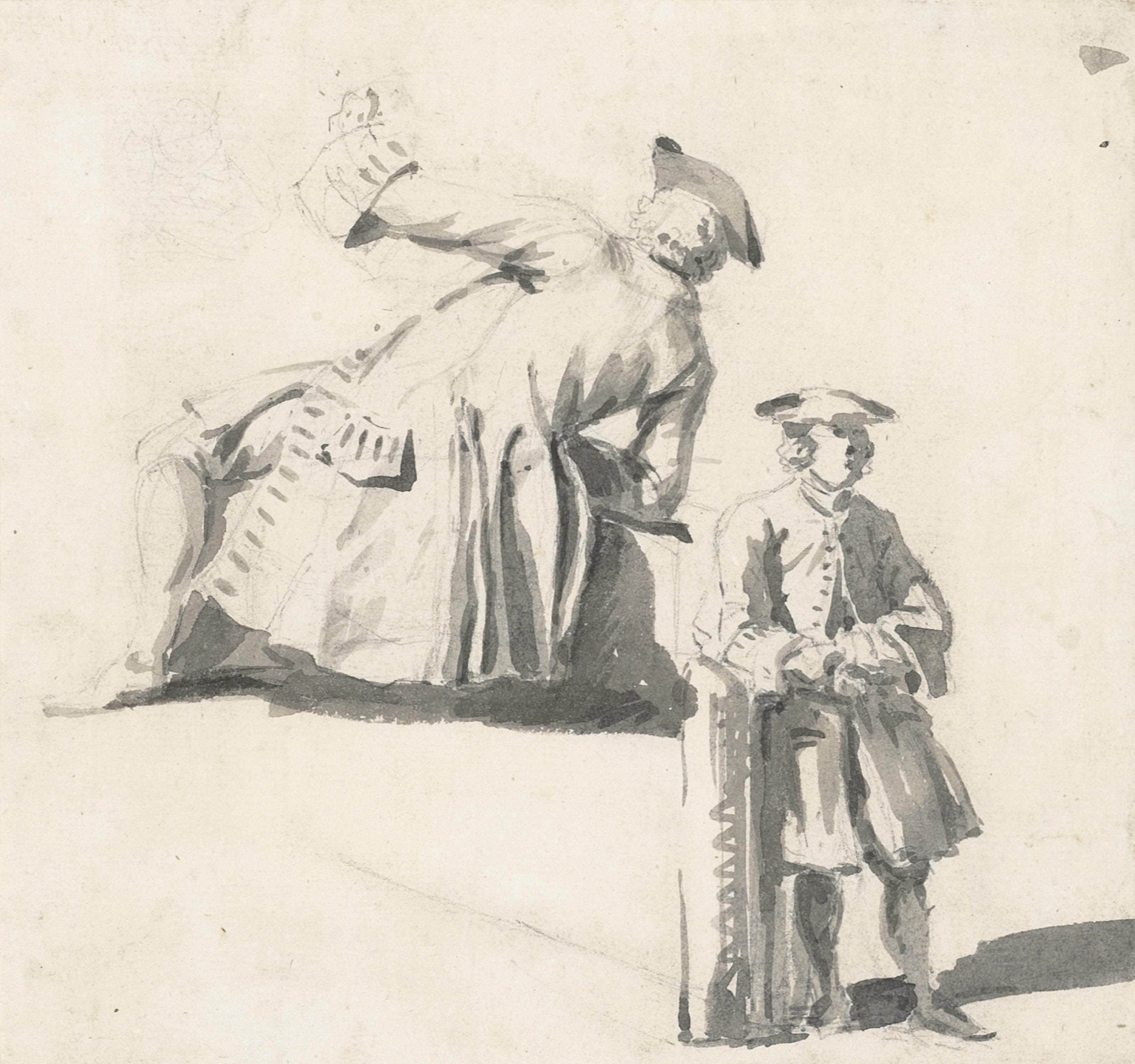 Two studies of a gentleman in a frock coat and tricorn hat