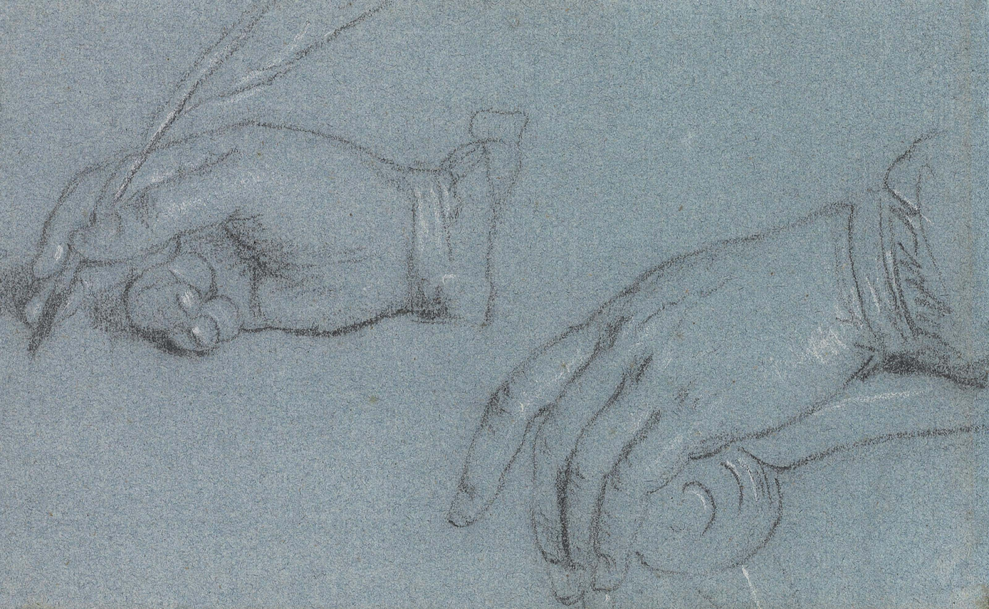 Study of hands, one holding a quill pen